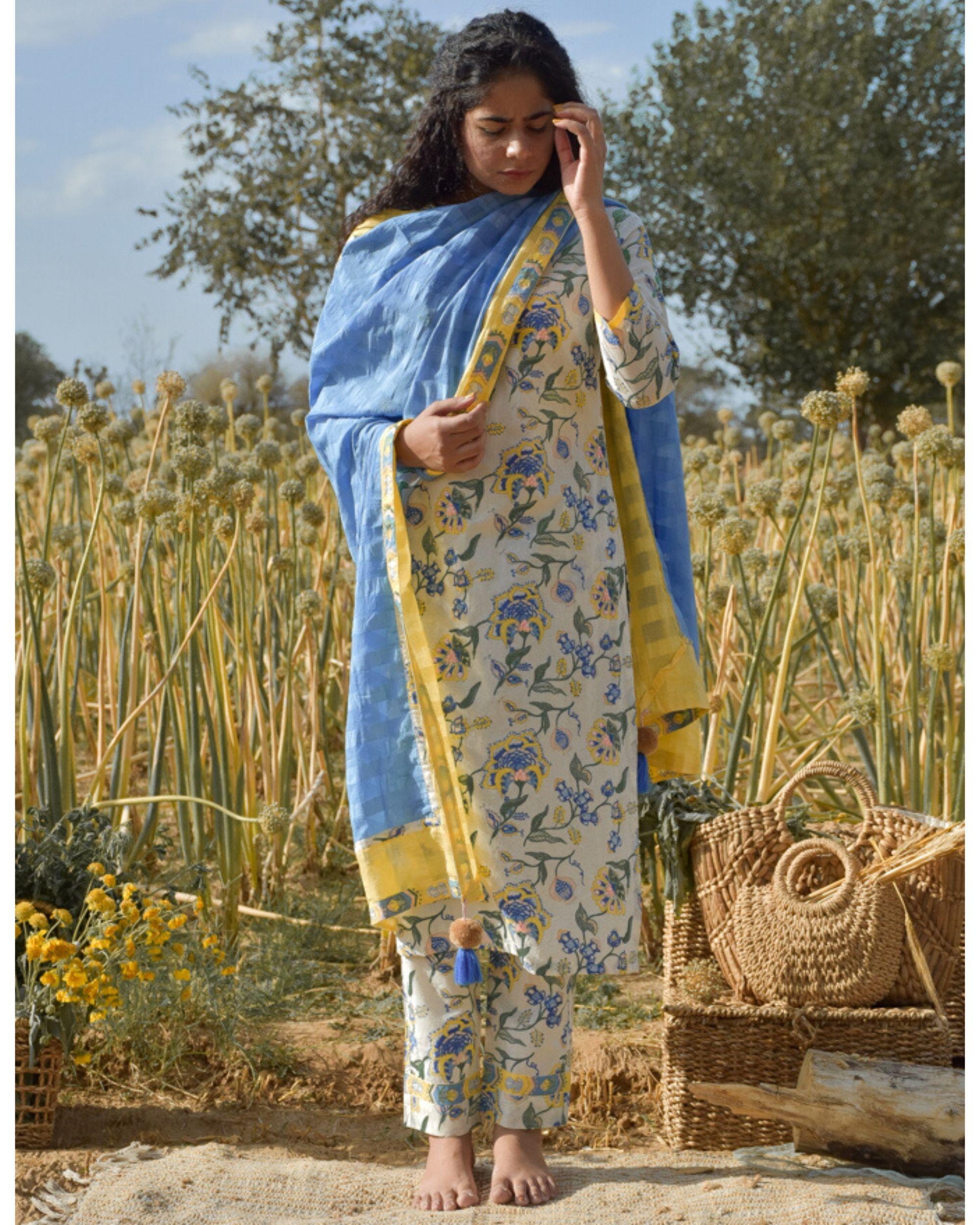 Blue and yellow tasseled dupatta