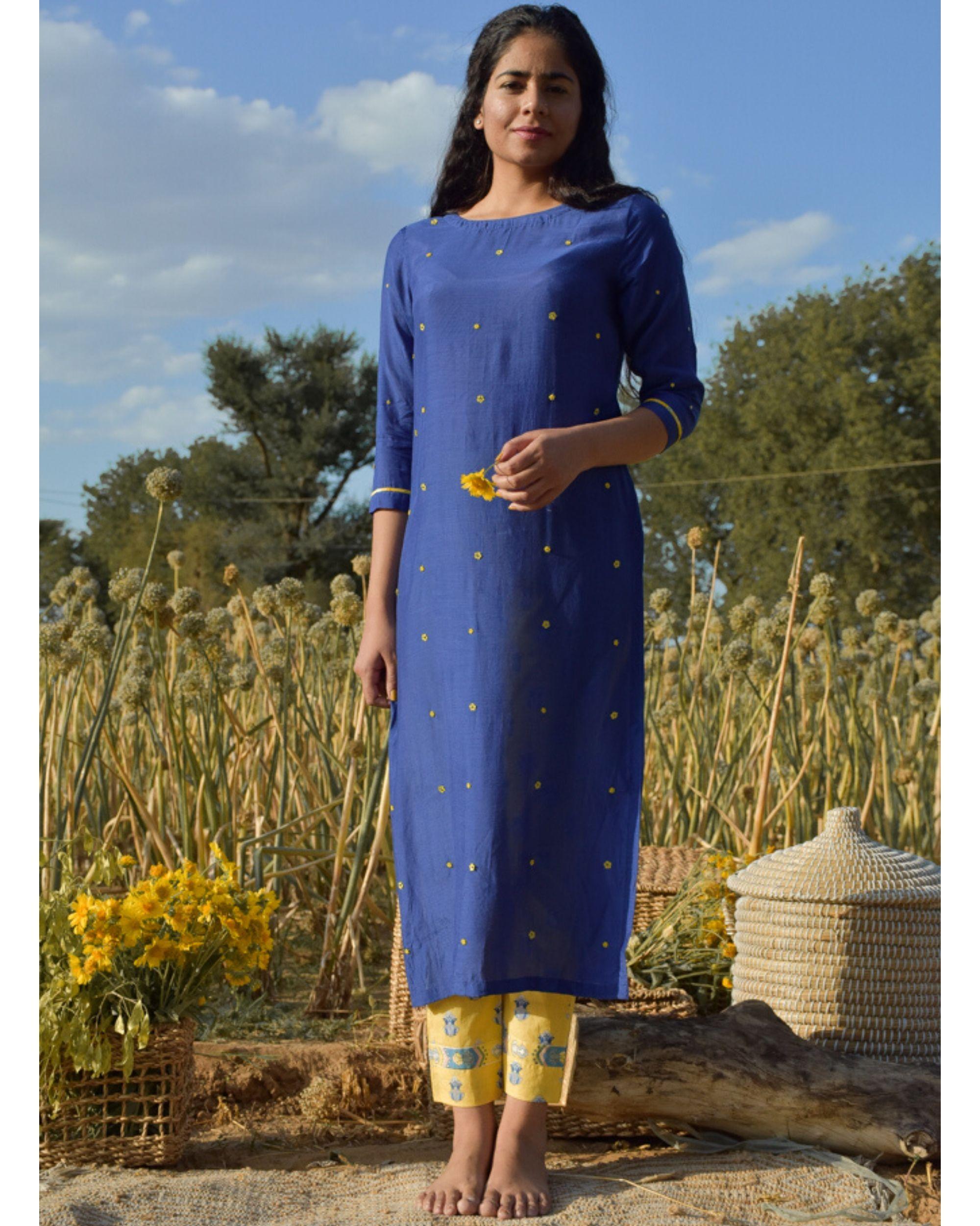 Blue and yellow embroidered kurta