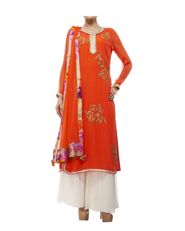 Embroidered Orange kurta set