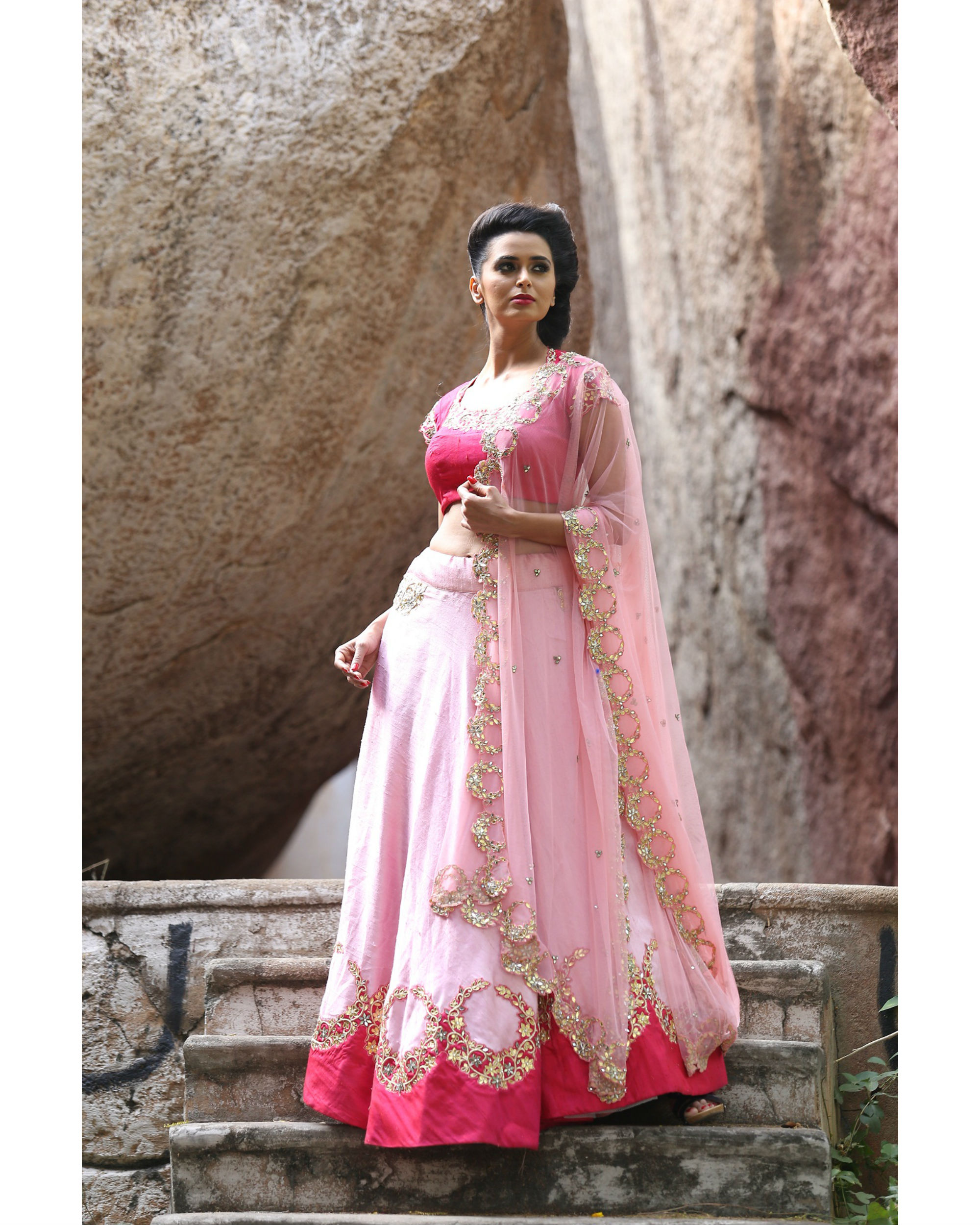 Pink and golden lehenga set with dupatta