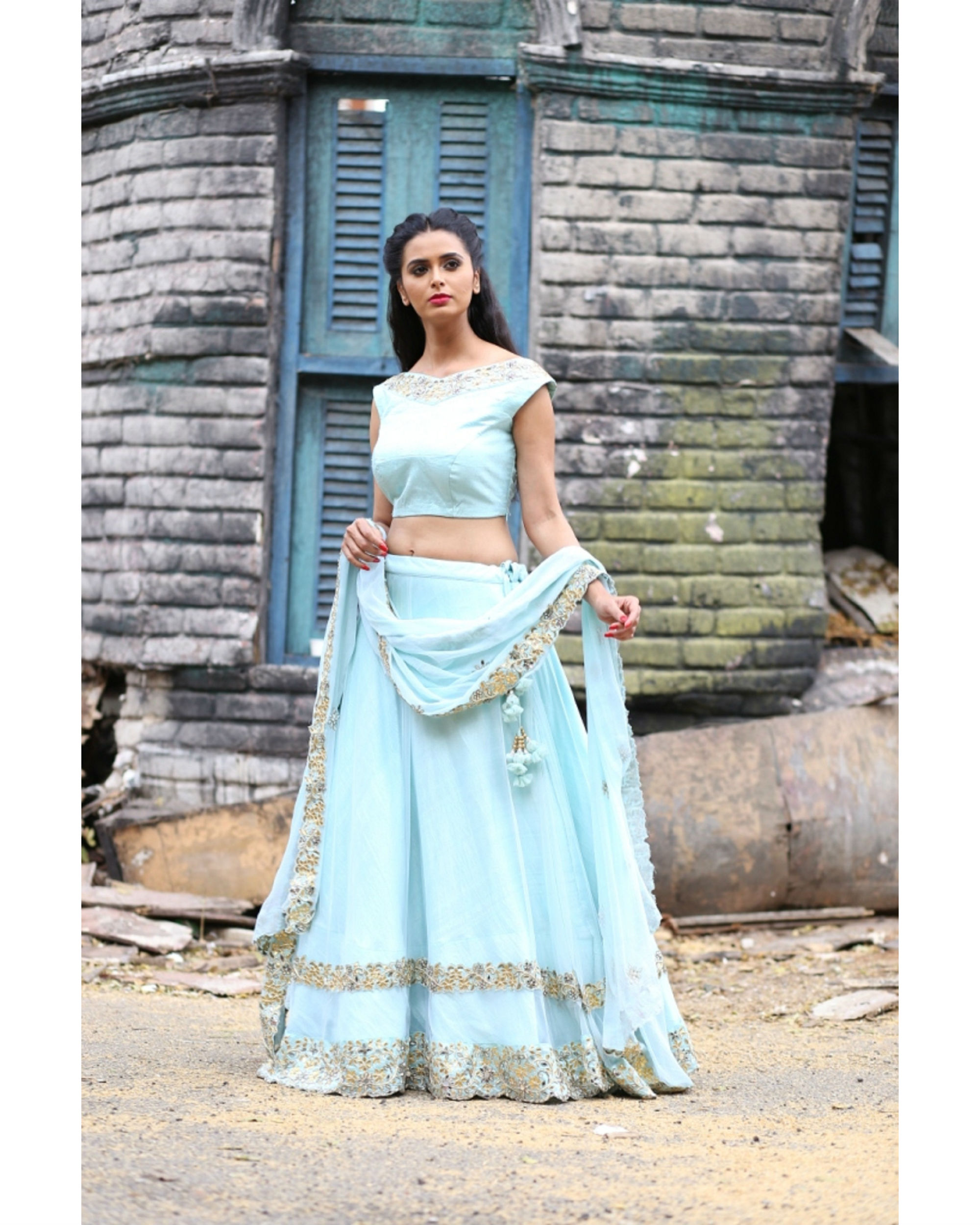 Ice blue and golden lehenga set with dupatta