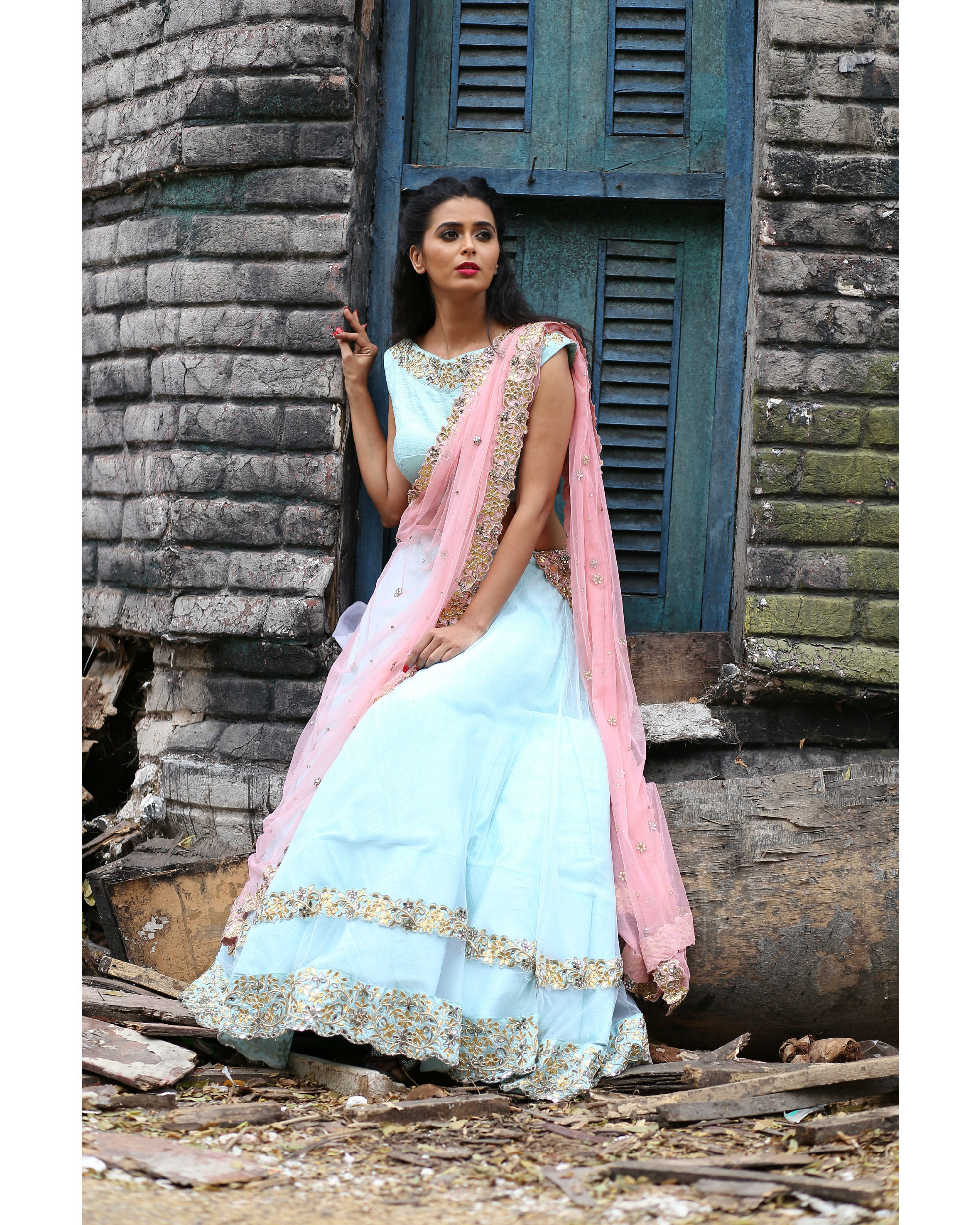 Ice blue and pink lehenga set with dupatta