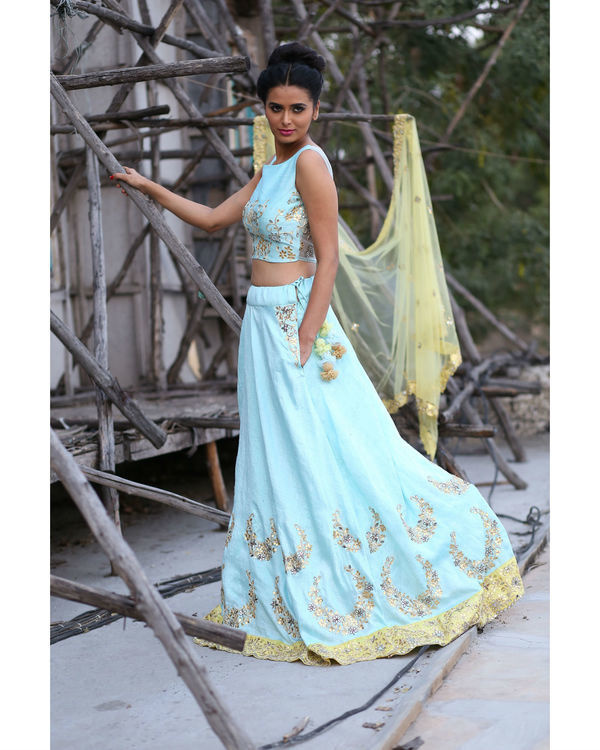 Ice blue and yellow lehenga set with dupatta