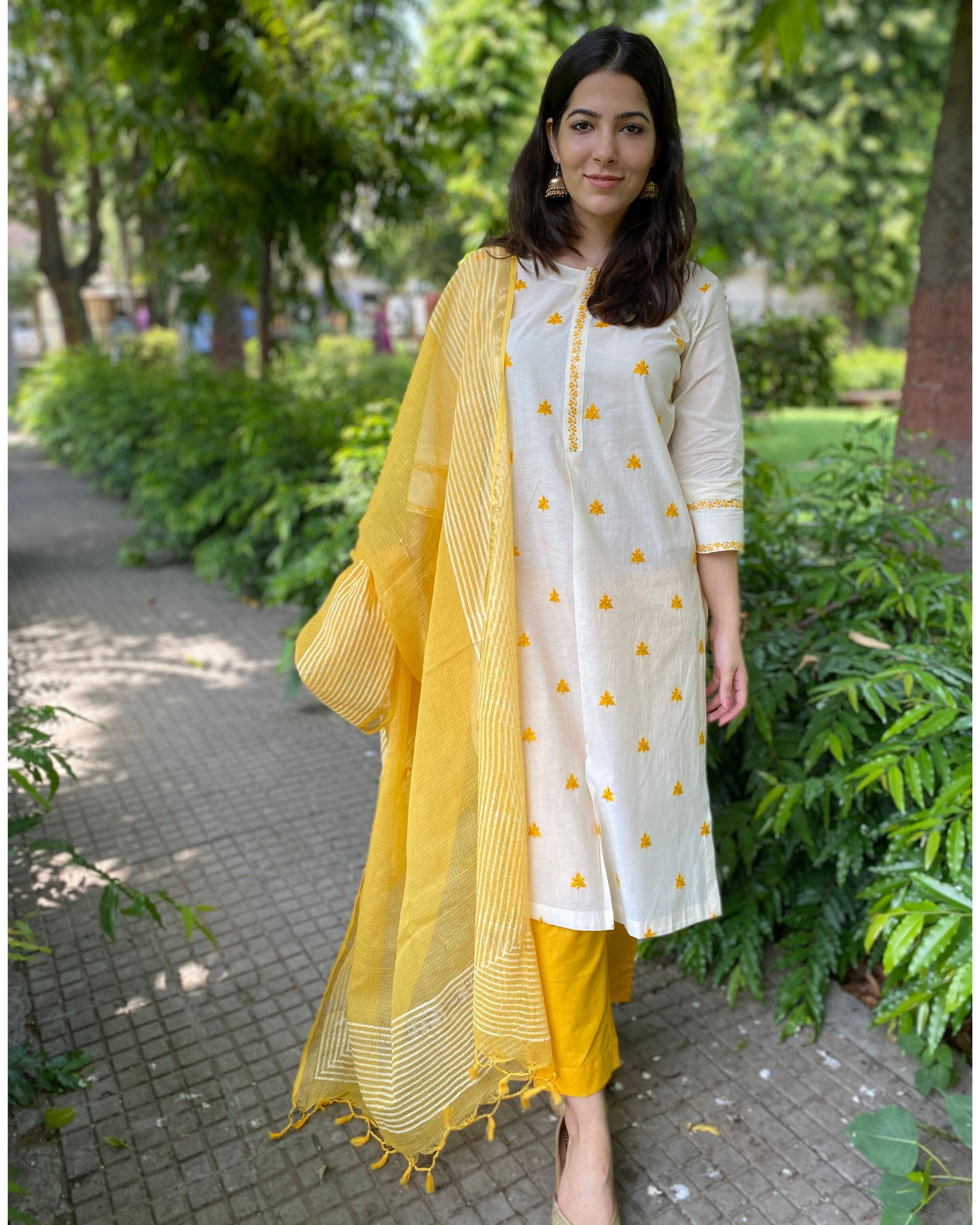 Off white and yellow embroidered kurta and pants with kota dupatta- Set Of Three