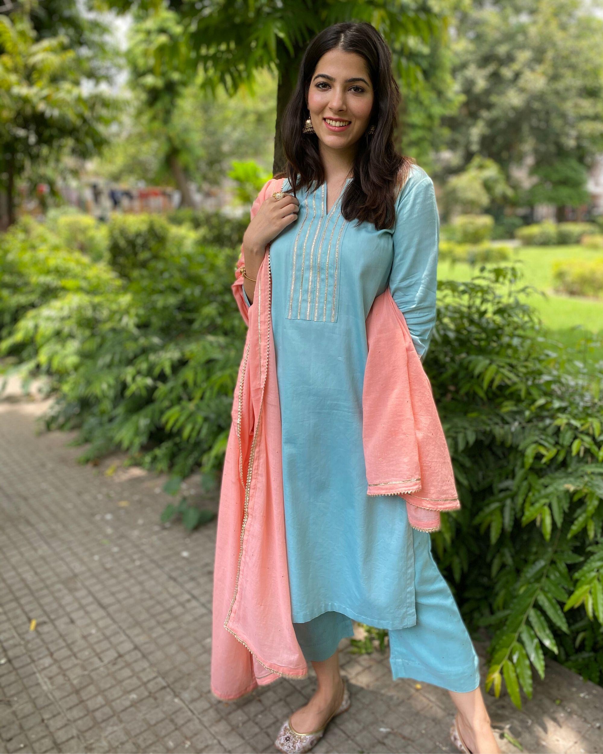 Turquoise gota kurta and pants with mukaish work dupatta- Set Of Three