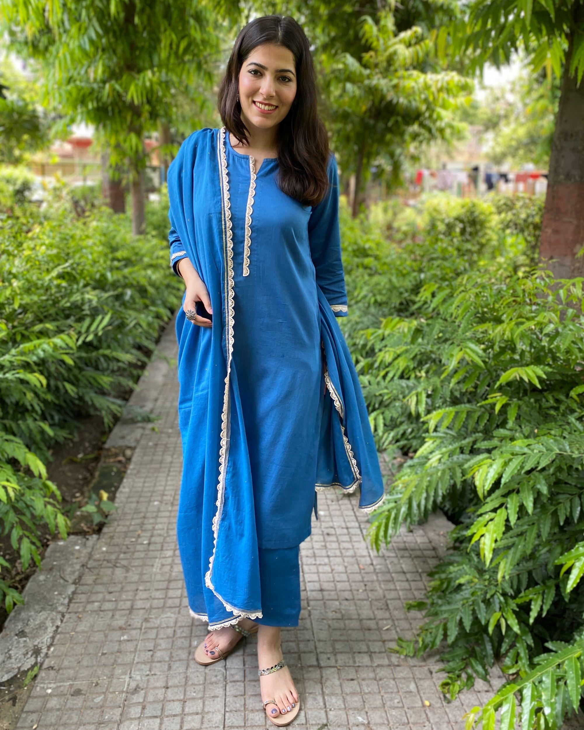 Cobalt blue mukaish work kurta and pants with dupatta- Set Of Three