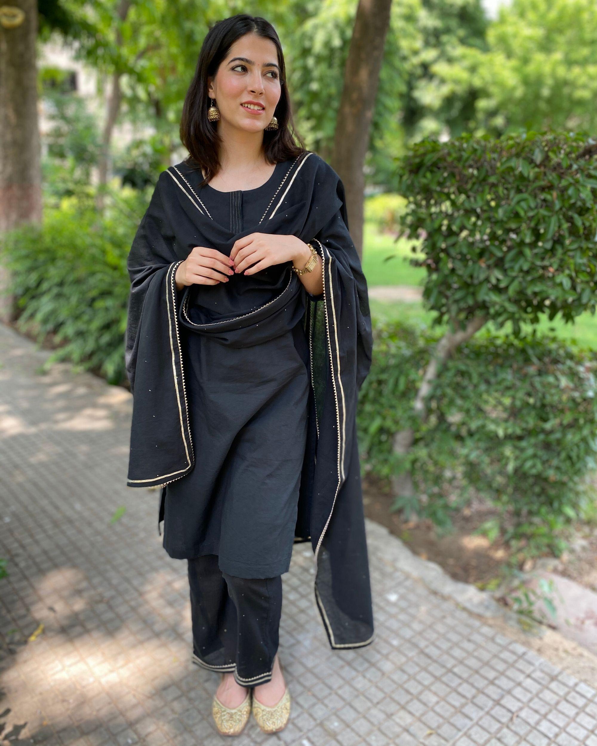 Black cotton kurta and pants with mukaish work dupatta- Set Of Three