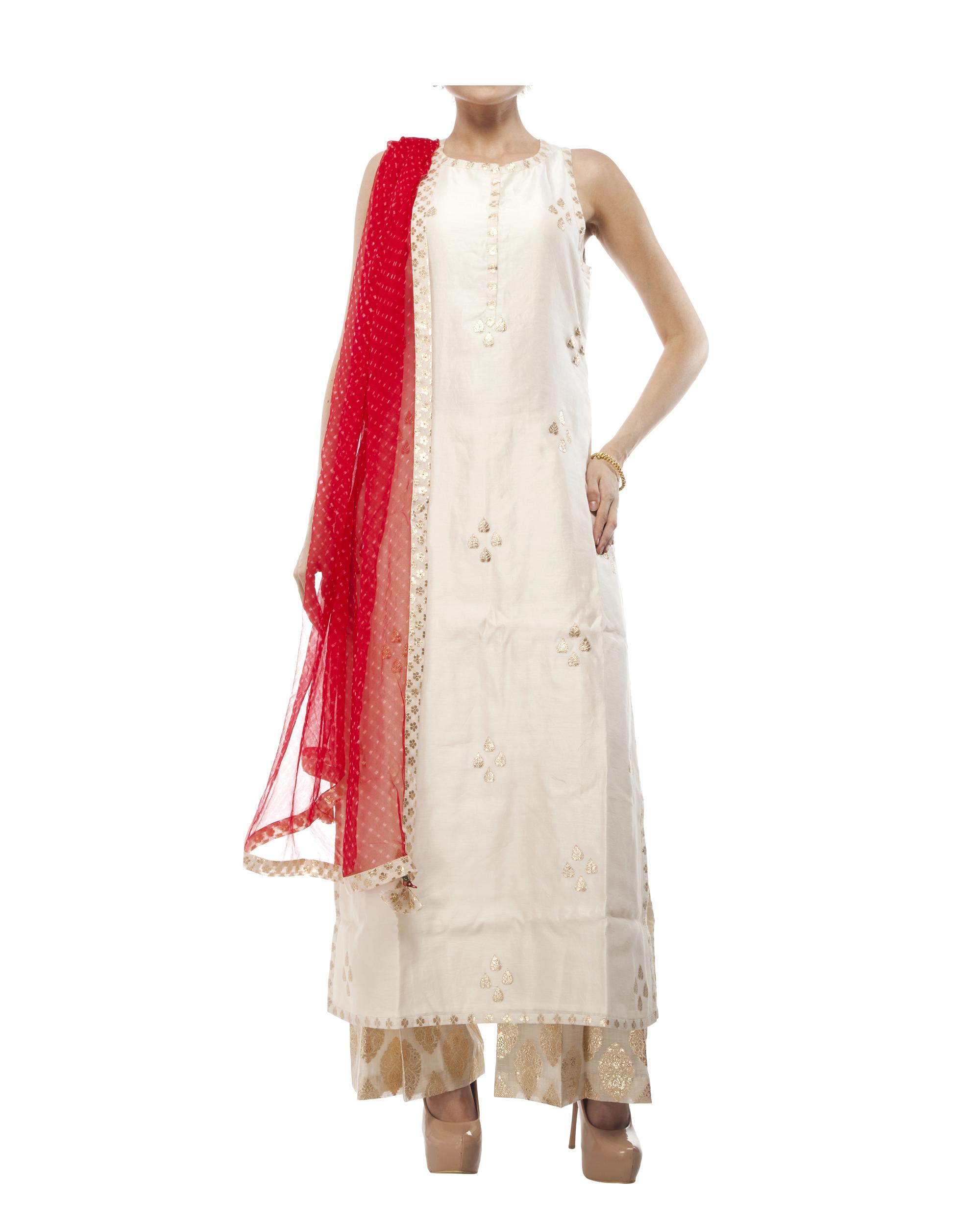 Ivory Chanderi straight kurta set