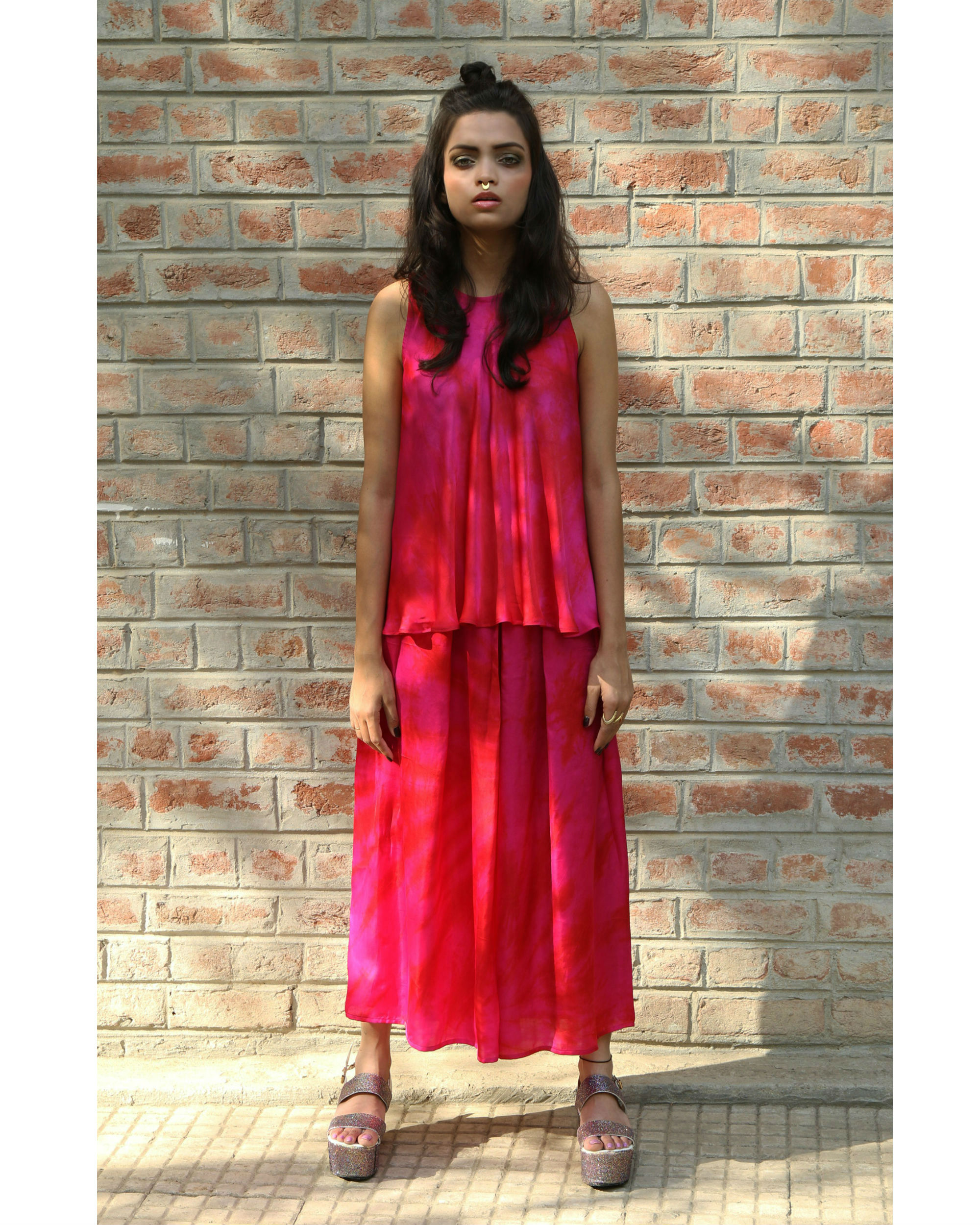 Pink box pleated culottes