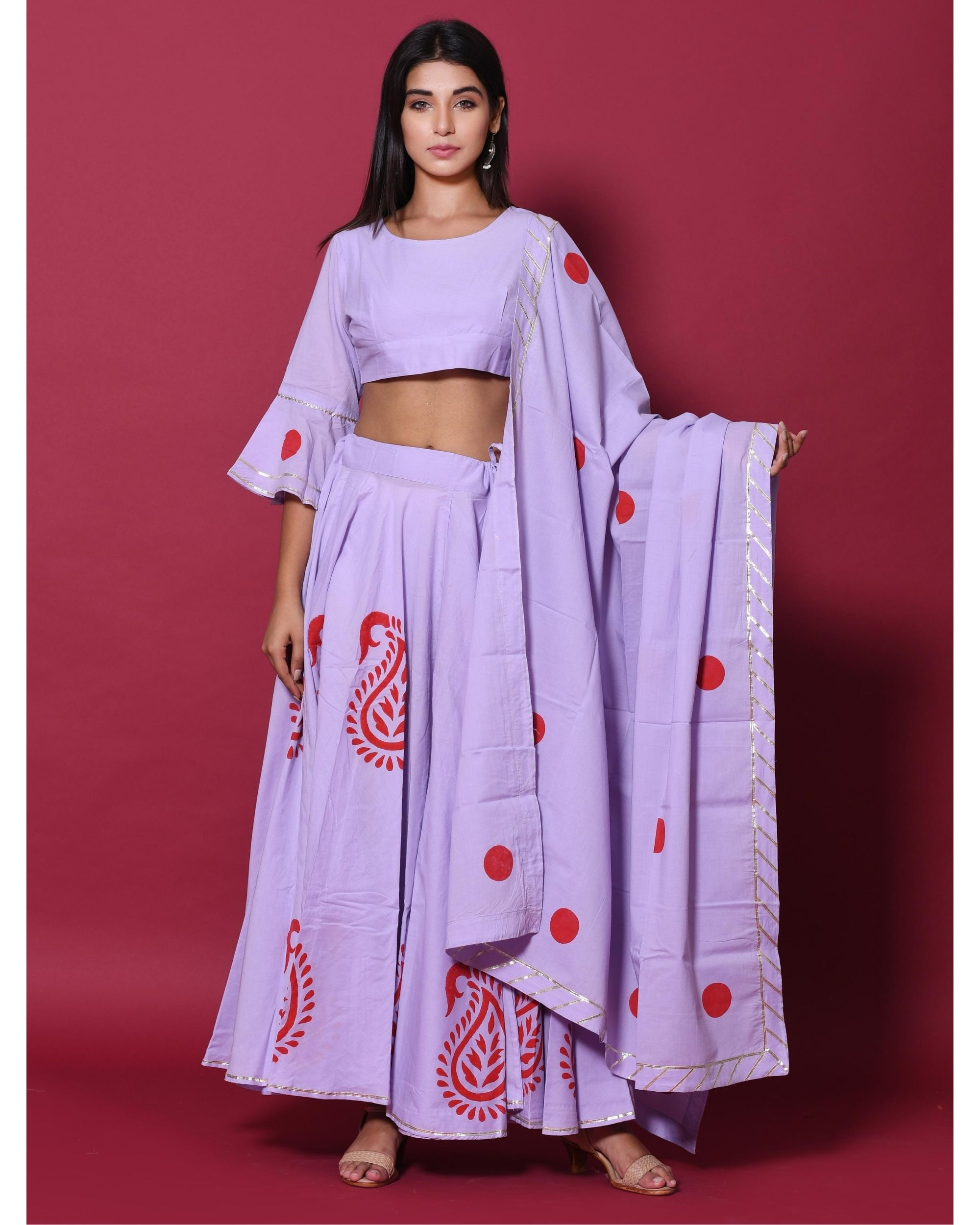 Periwinkle and red hand block printed lehenga and choli with dupatta - set of three