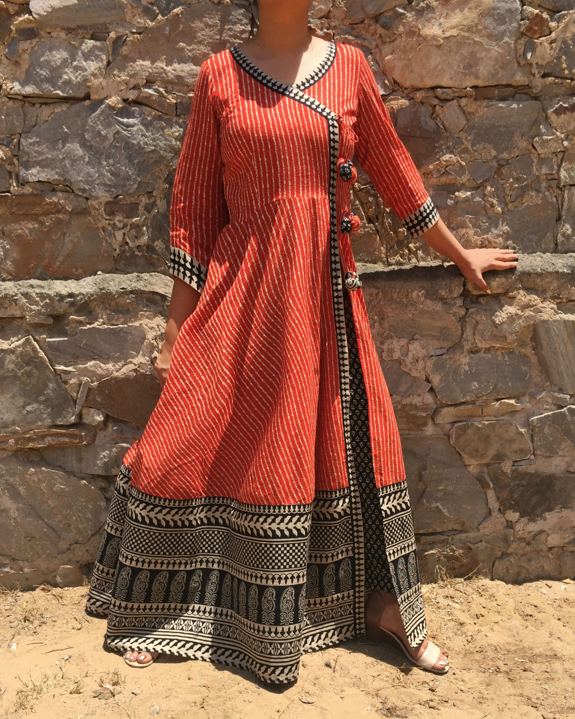 Angrakha cape with Printed Pants