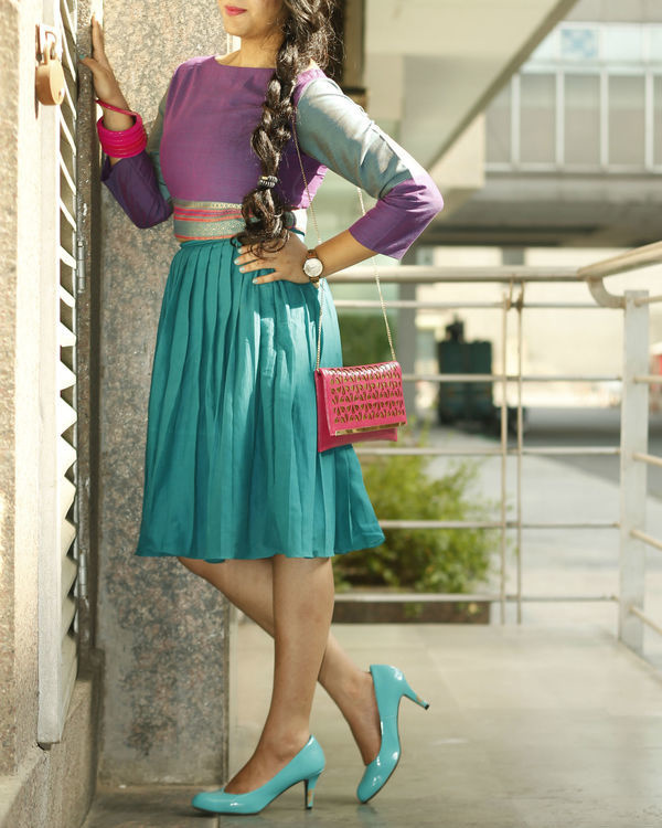 Purple and turquoise top with pleated skirt set