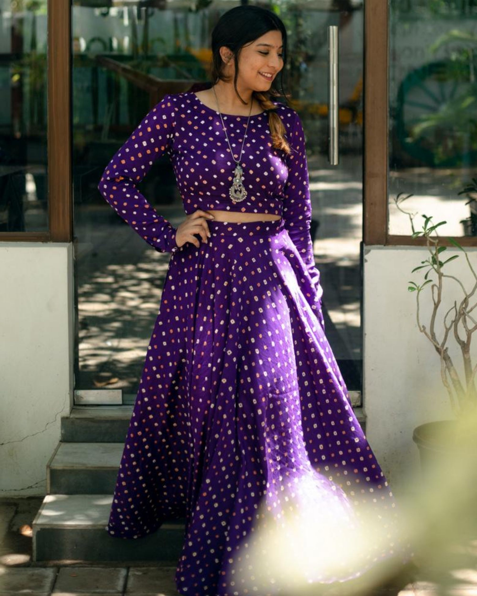 Violet bandhani crop top and skirt - Set Of Two