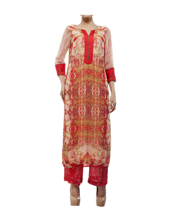 Kantha yoke with printed kurta and printed palazzo