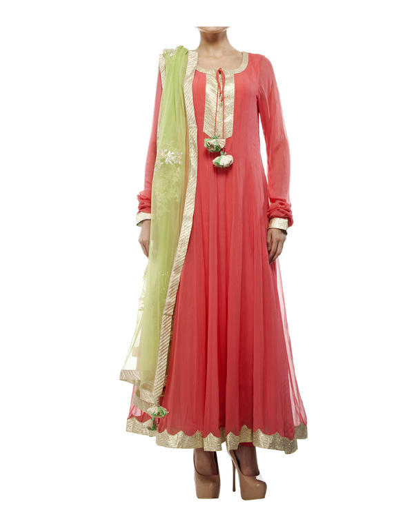 Coral Viscose georgette anarkali set