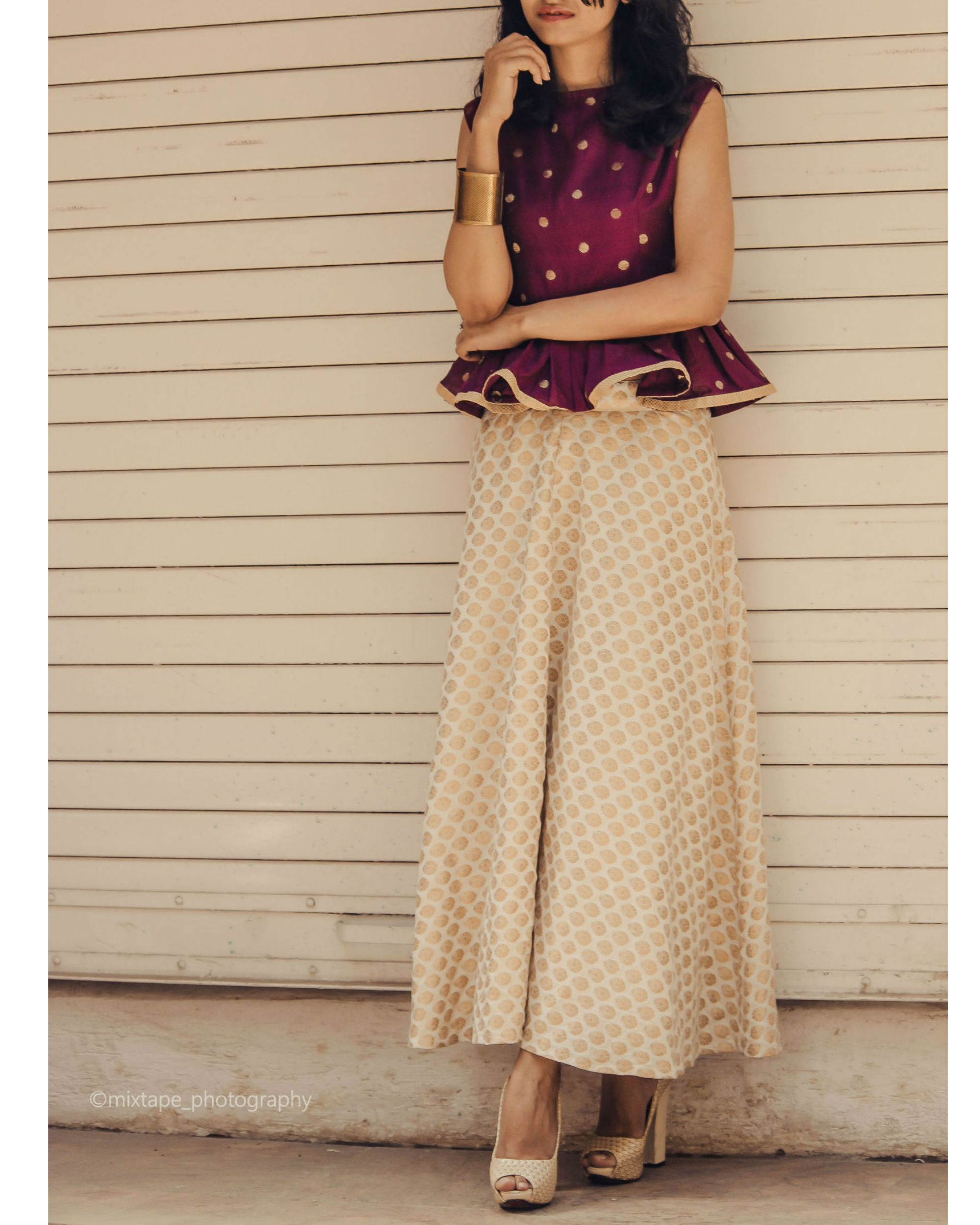 3ab4b90f4c6635 Berry peplum top and skirt set by Ekta   Sonal