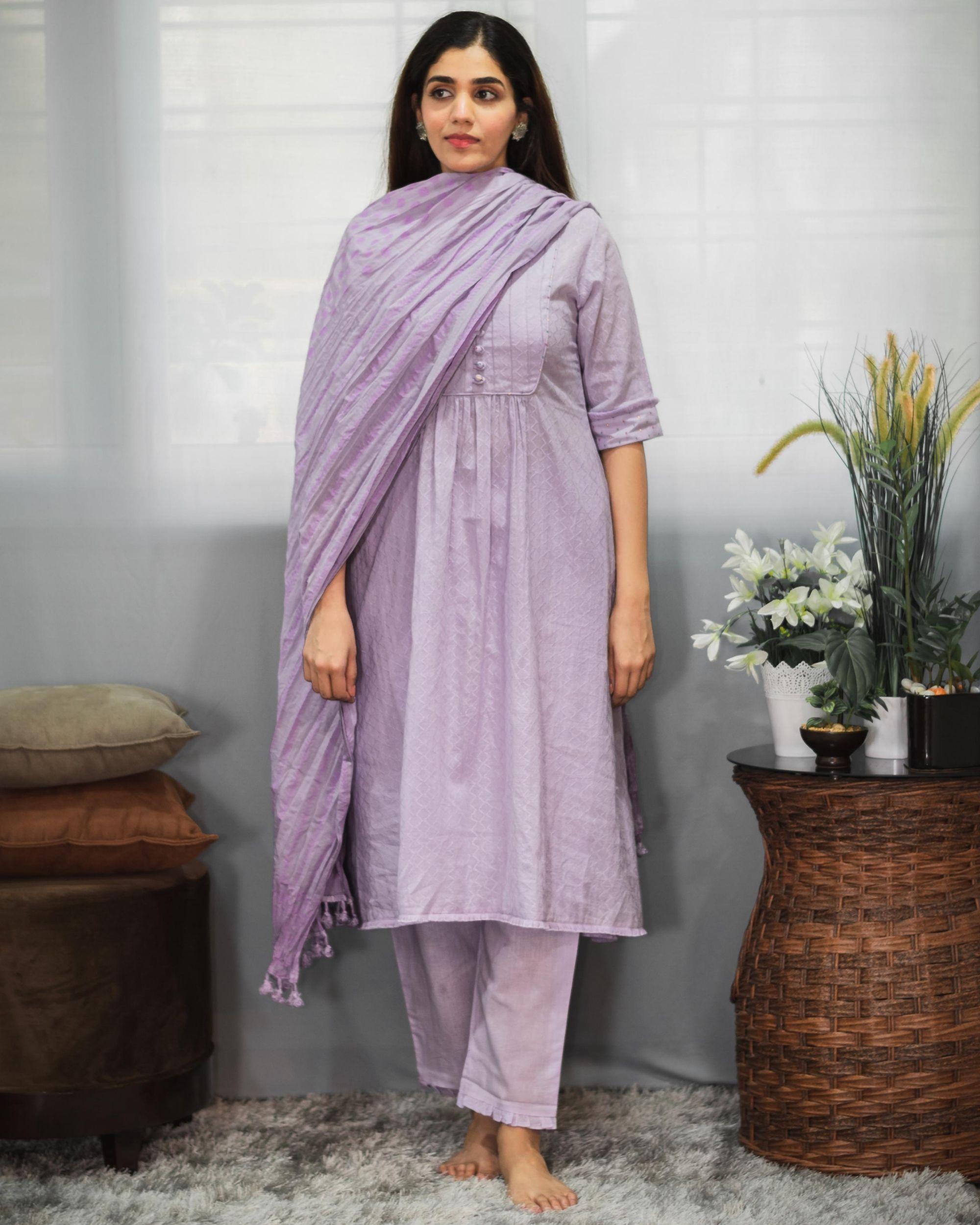 Purple gathered yoke kurta and pants with crinkled dupatta - Set Of Three