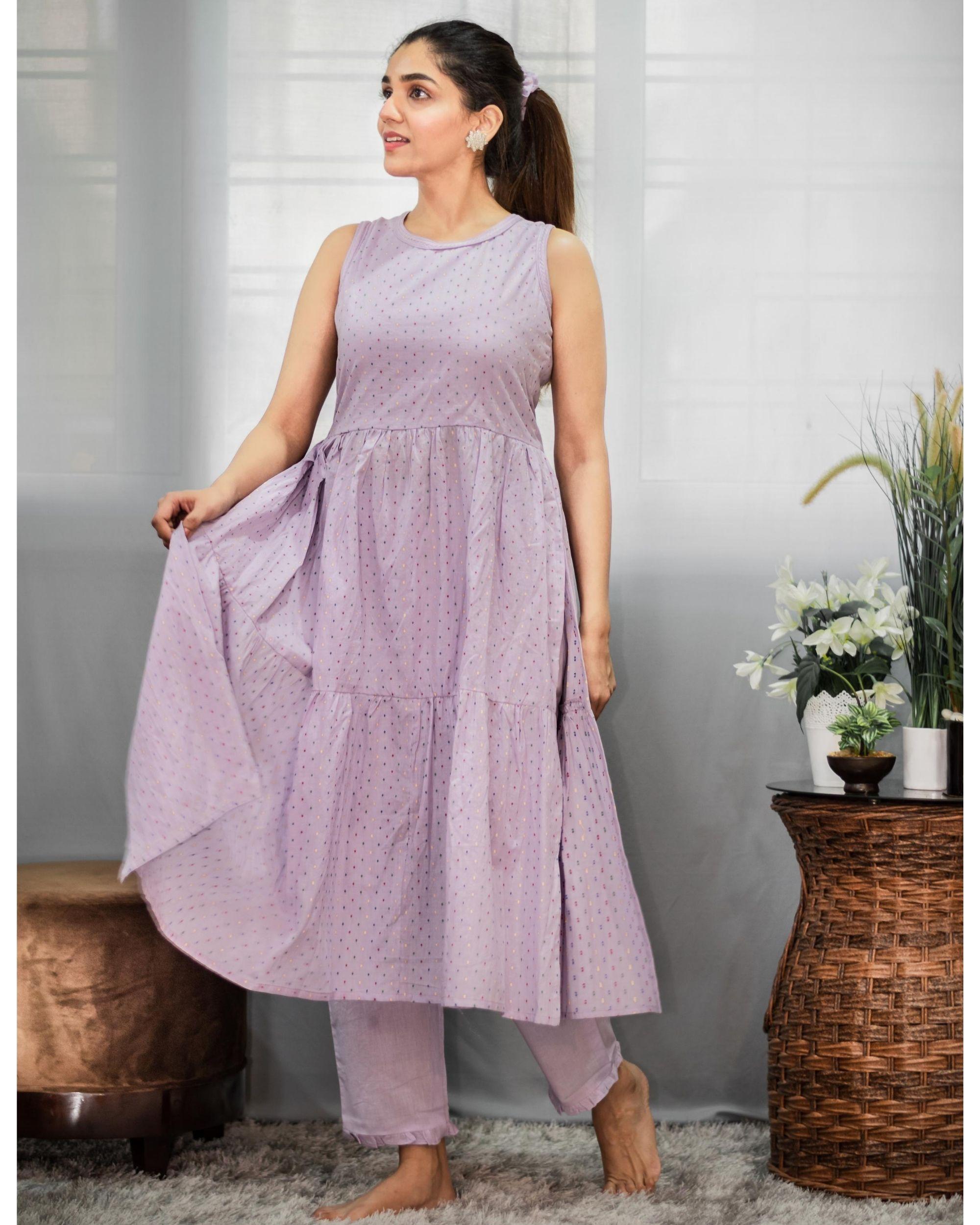 Purple printed tiered kurta and pants - Set Of Two
