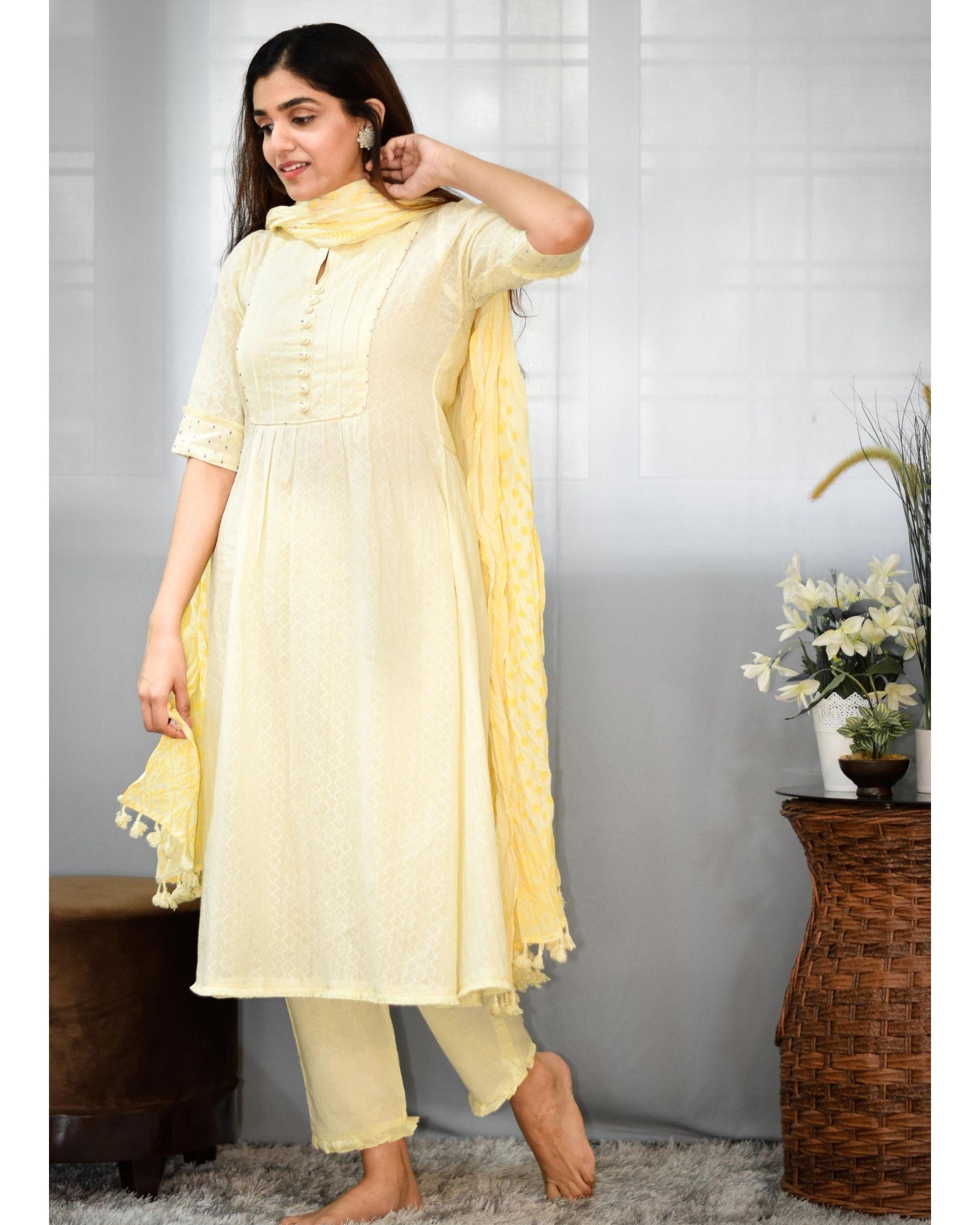 Pastel yellow gathered yoke kurta and pants with dupatta - Set Of Three