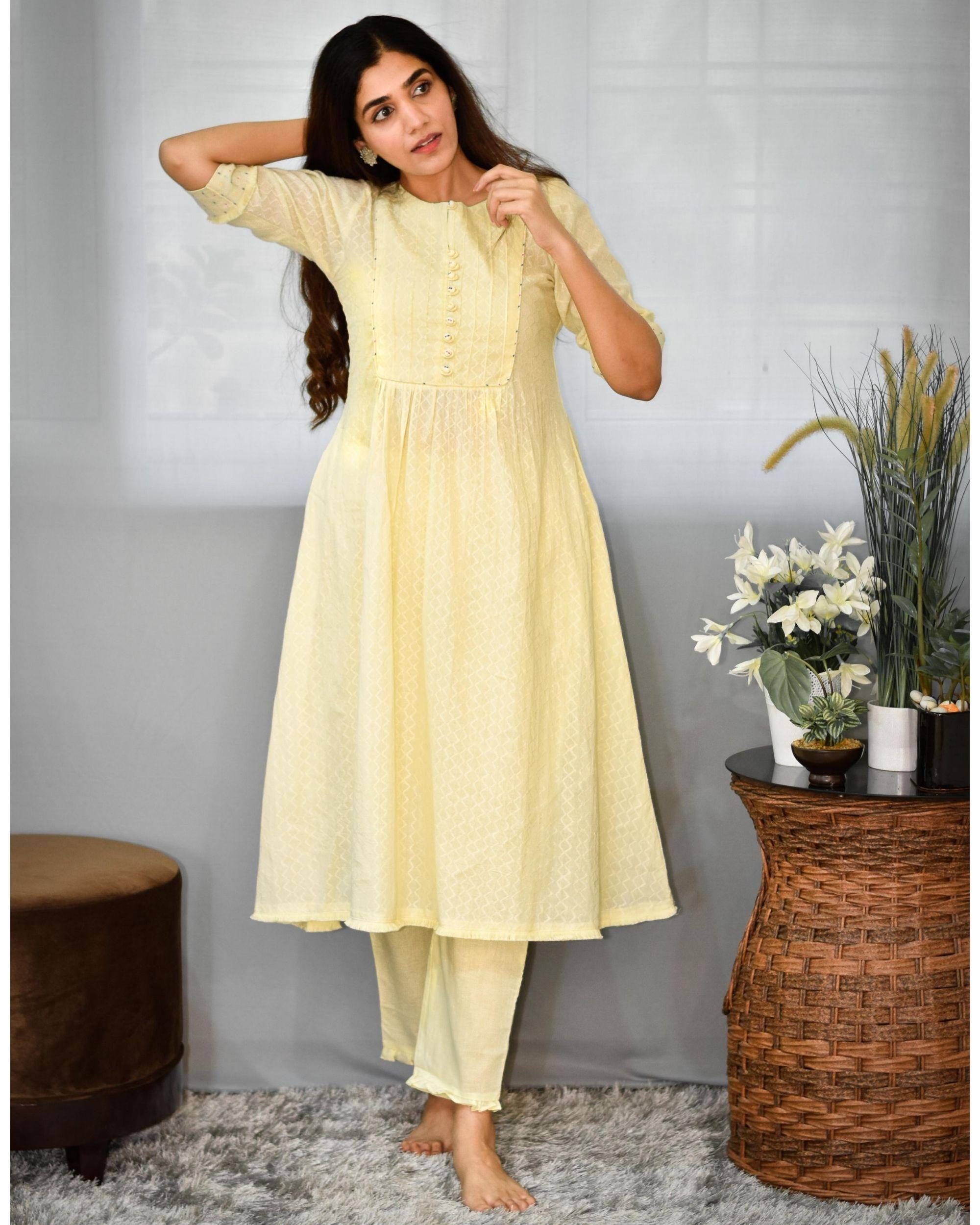 Pastel yellow gathered yoke kurta and pants - Set Of Two
