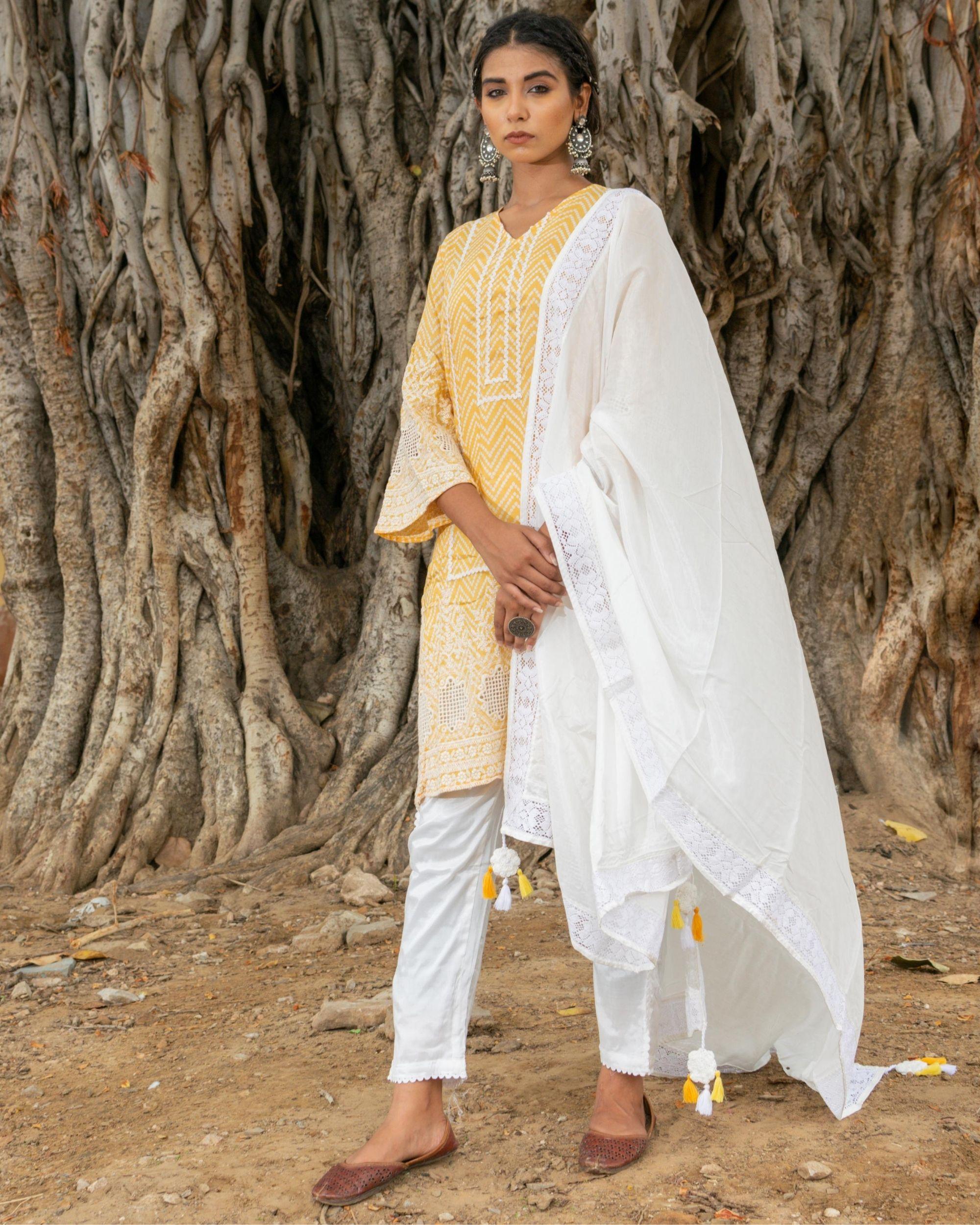 Yellow and white zig - zag kurta and pants with dupatta - set of three