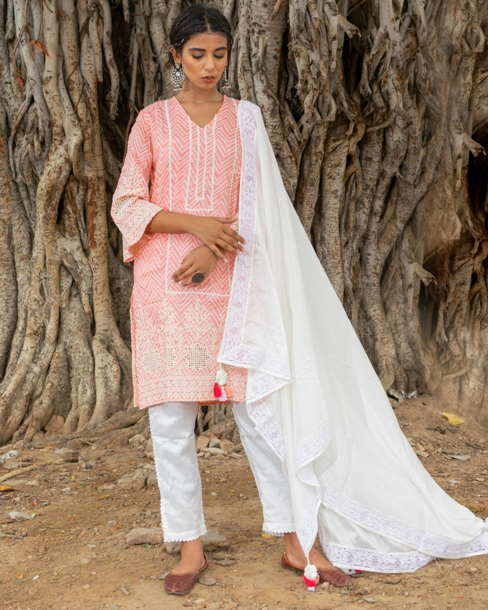 Pink and white zig - zag kurta and pants with dupatta - set of three