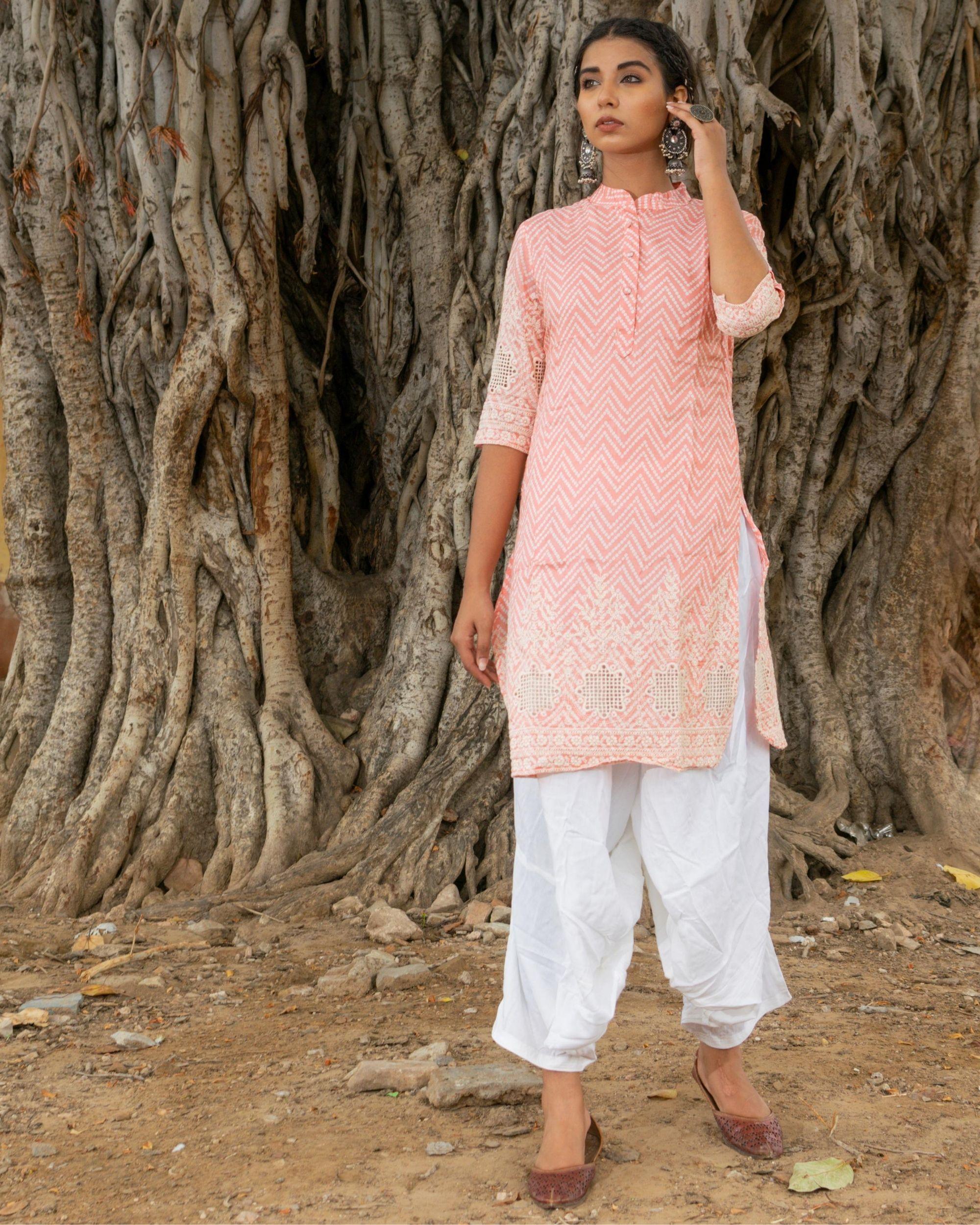 Pink kurta with white salwar - set of two