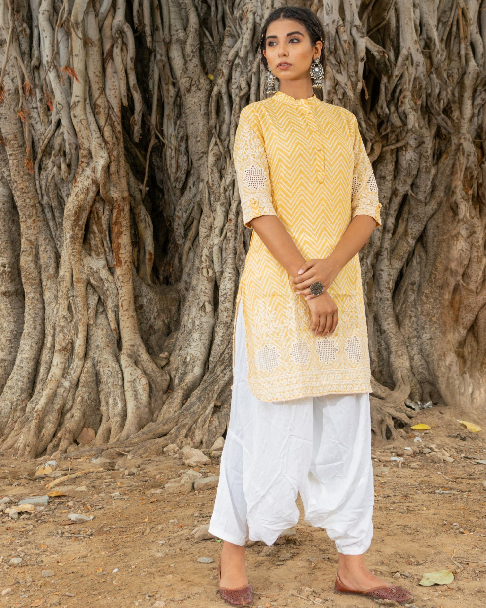 Yellow kurta with white salwar - set of two