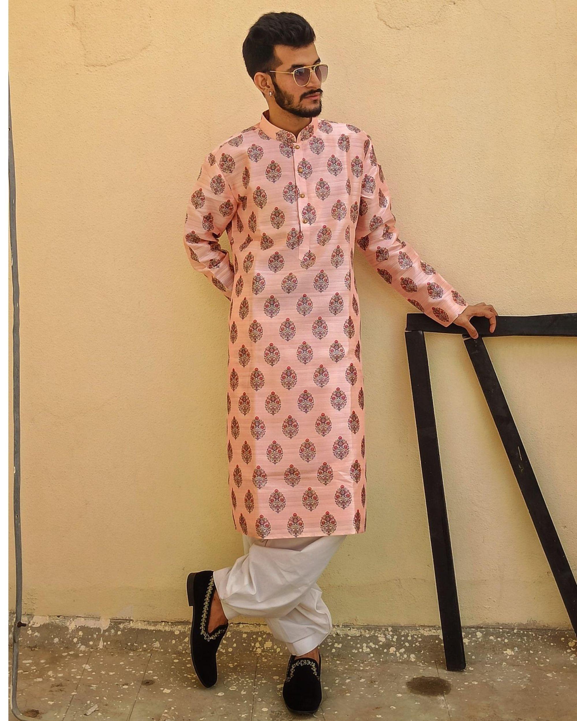Powder pink jaipuri printed kurta and pyjama - Set Of Two