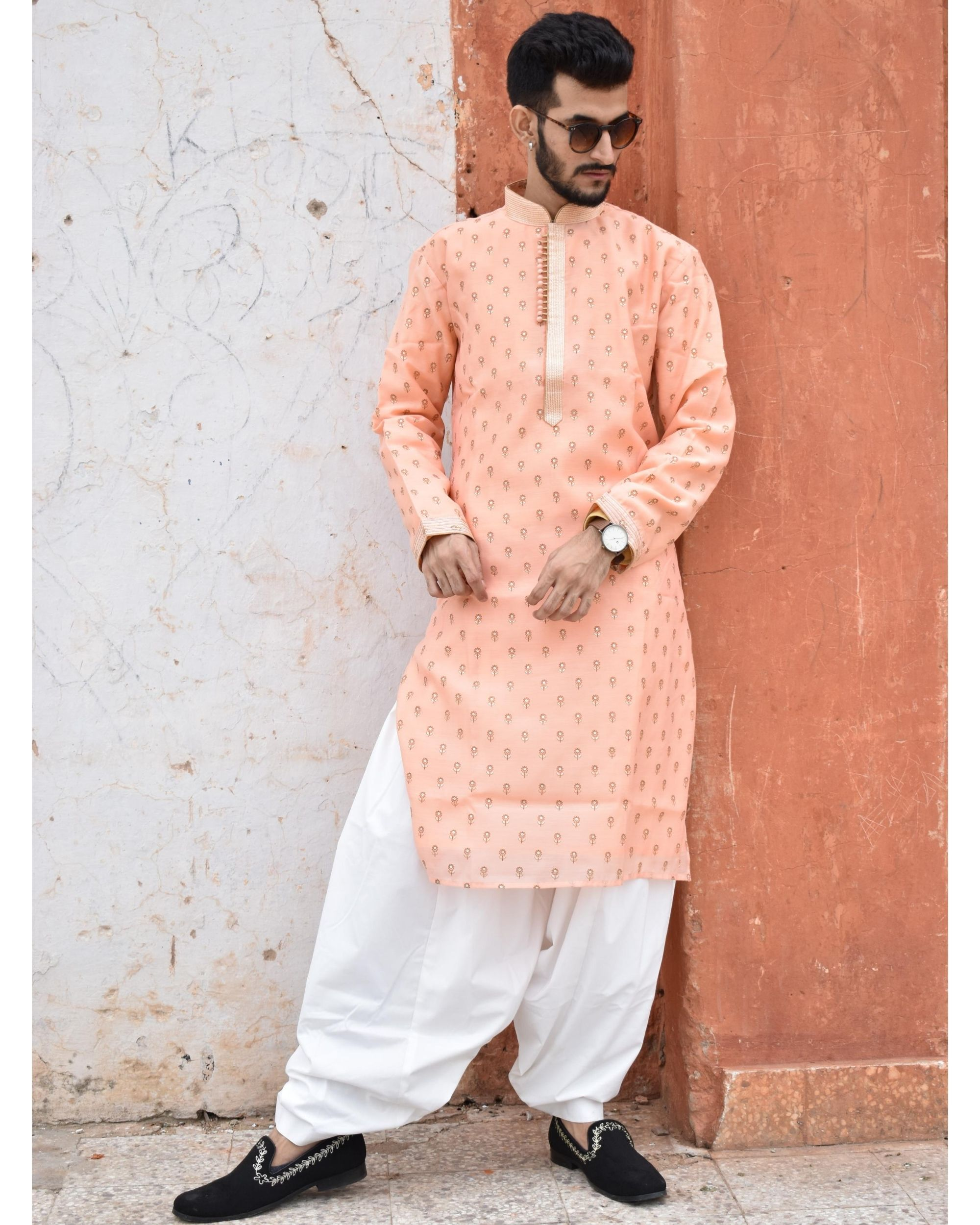 Apricot printed kurta and pyjama - Set Of Two