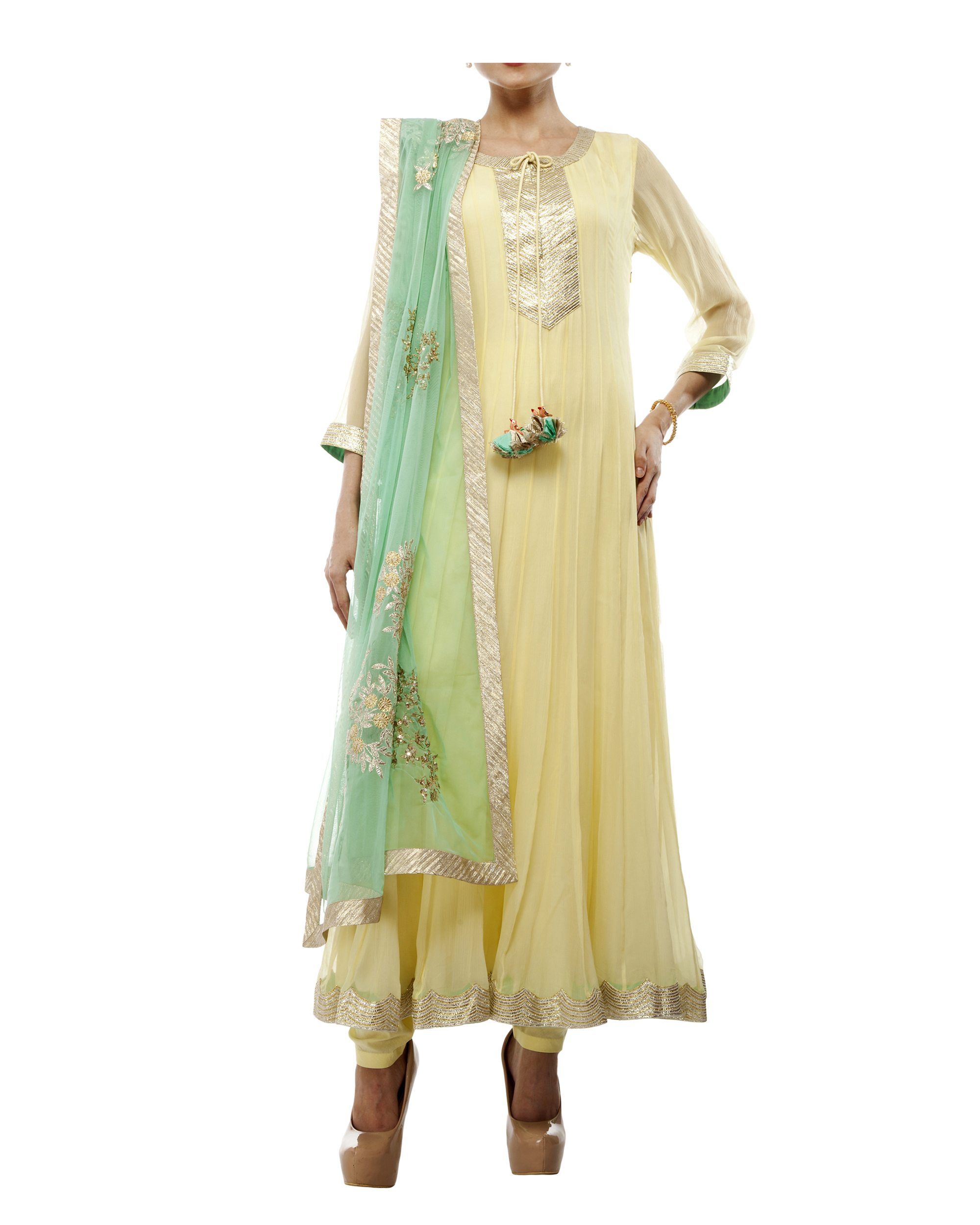 Yellow Viscose georgette anarkali set