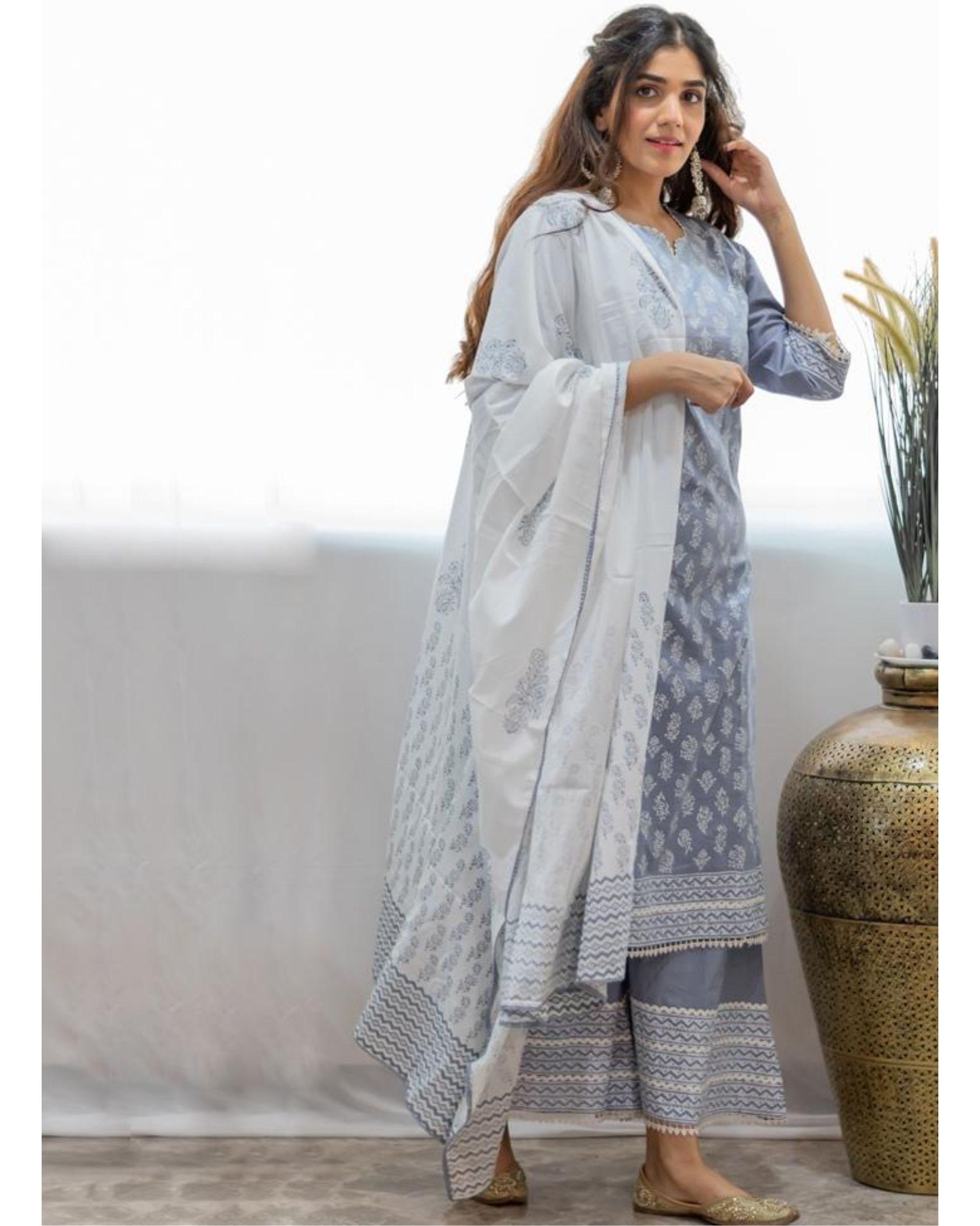 White and grey khari block printed dupatta