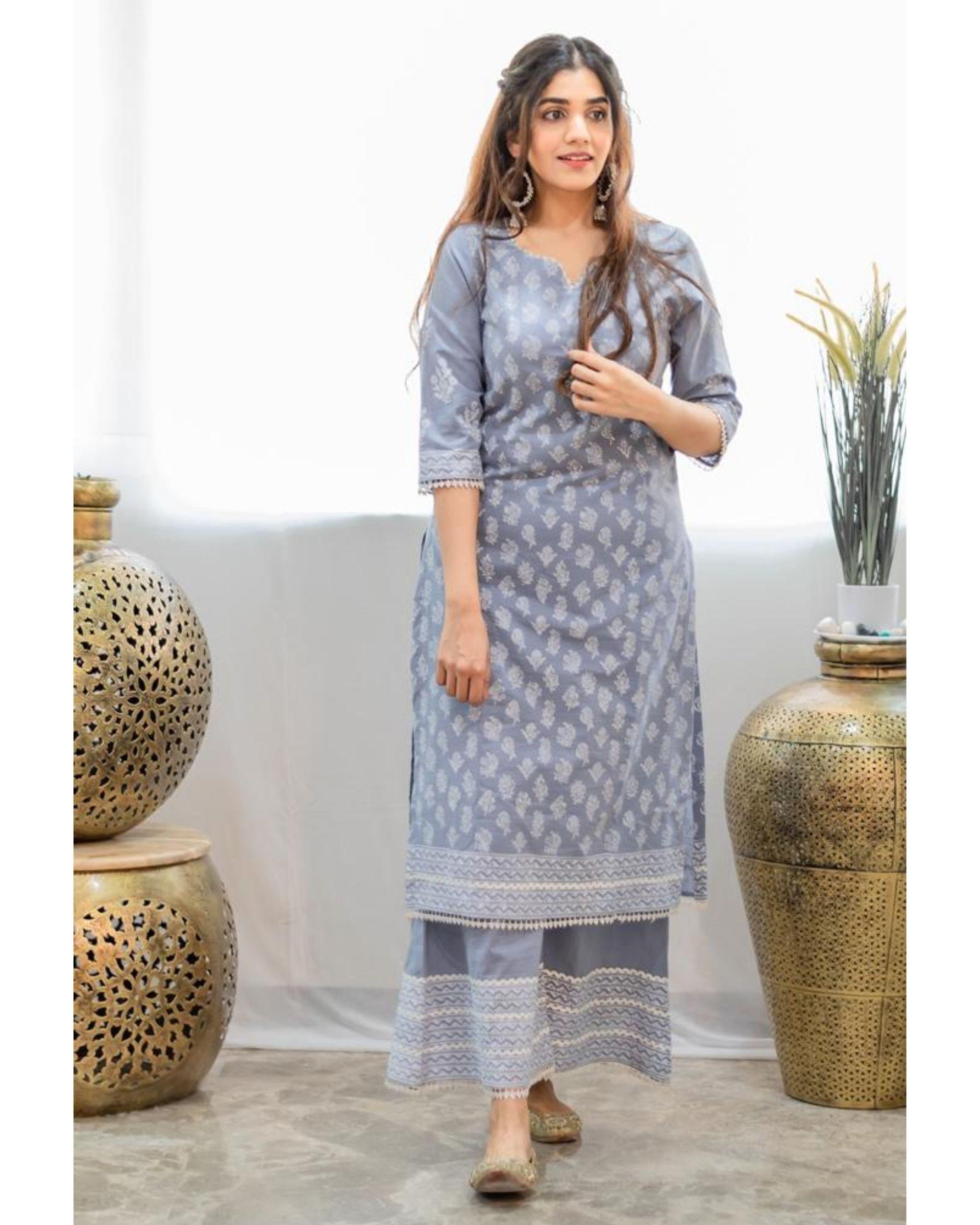 Grey khari block printed kurta with palazzo - Set Of Two