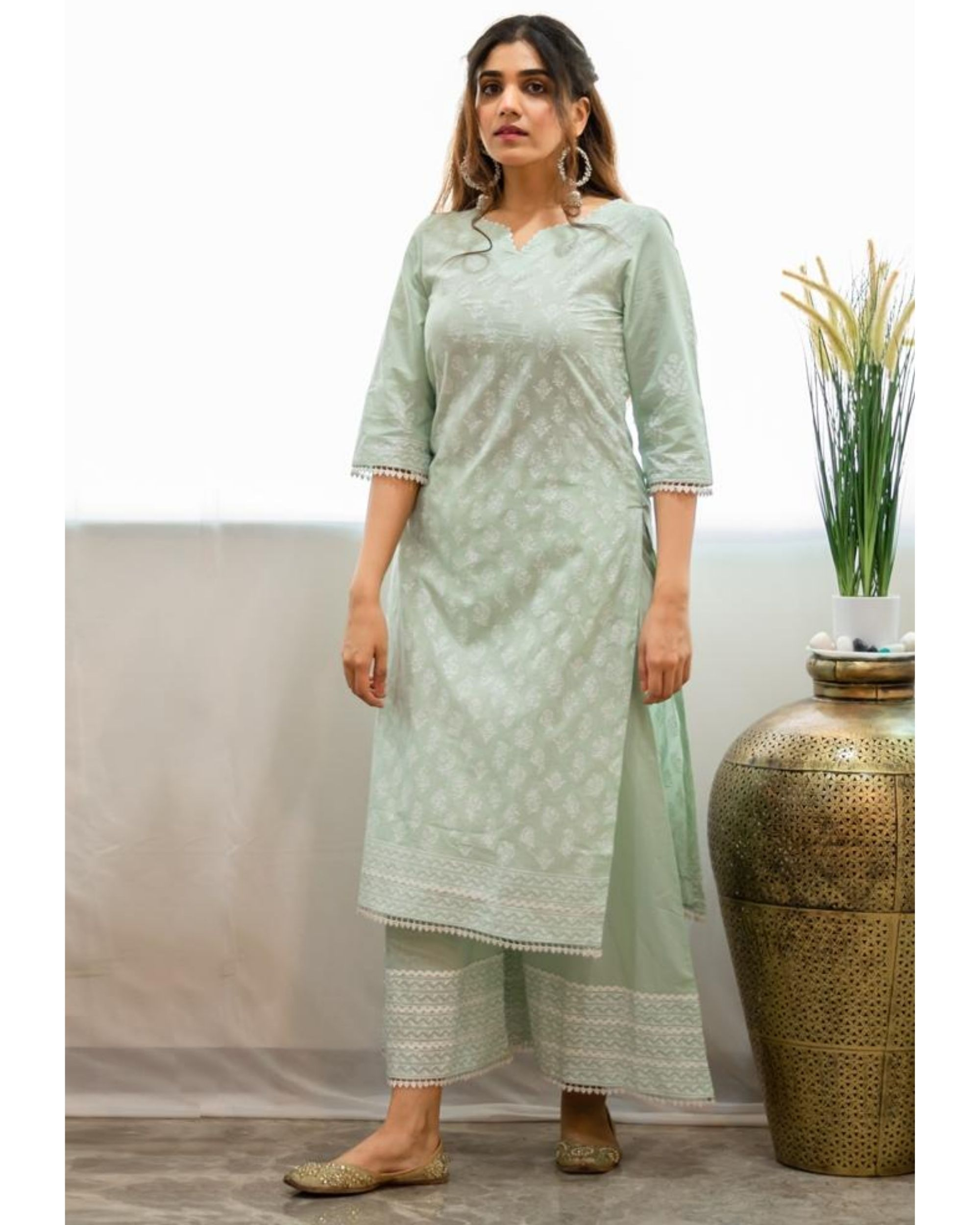 Mint green khari block printed kurta with palazzo - Set Of Two