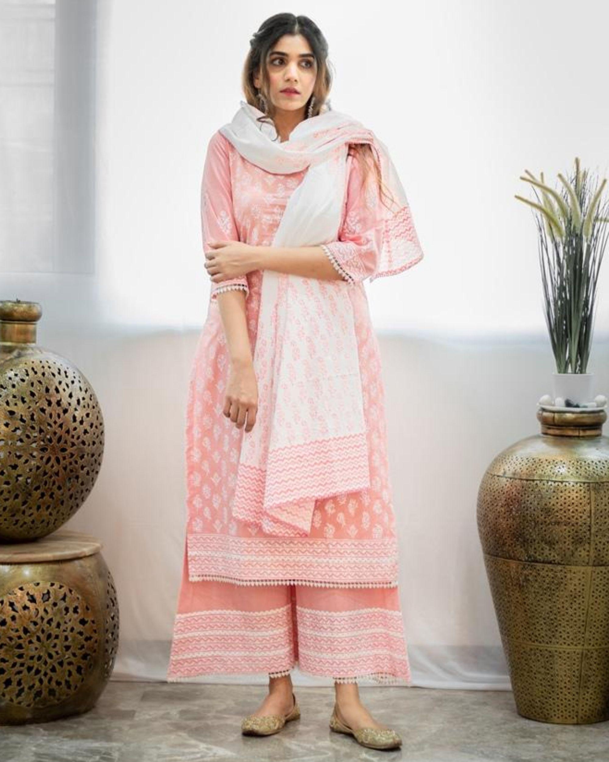 Blush pink khari block printed kurta with palazzo and dupatta - Set Of Three