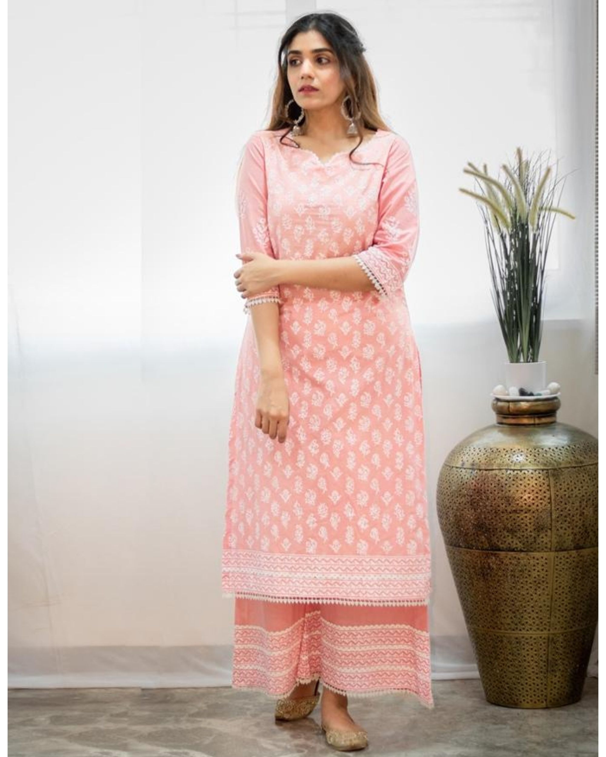 Blush pink khari block printed kurta with palazzo - Set Of Two
