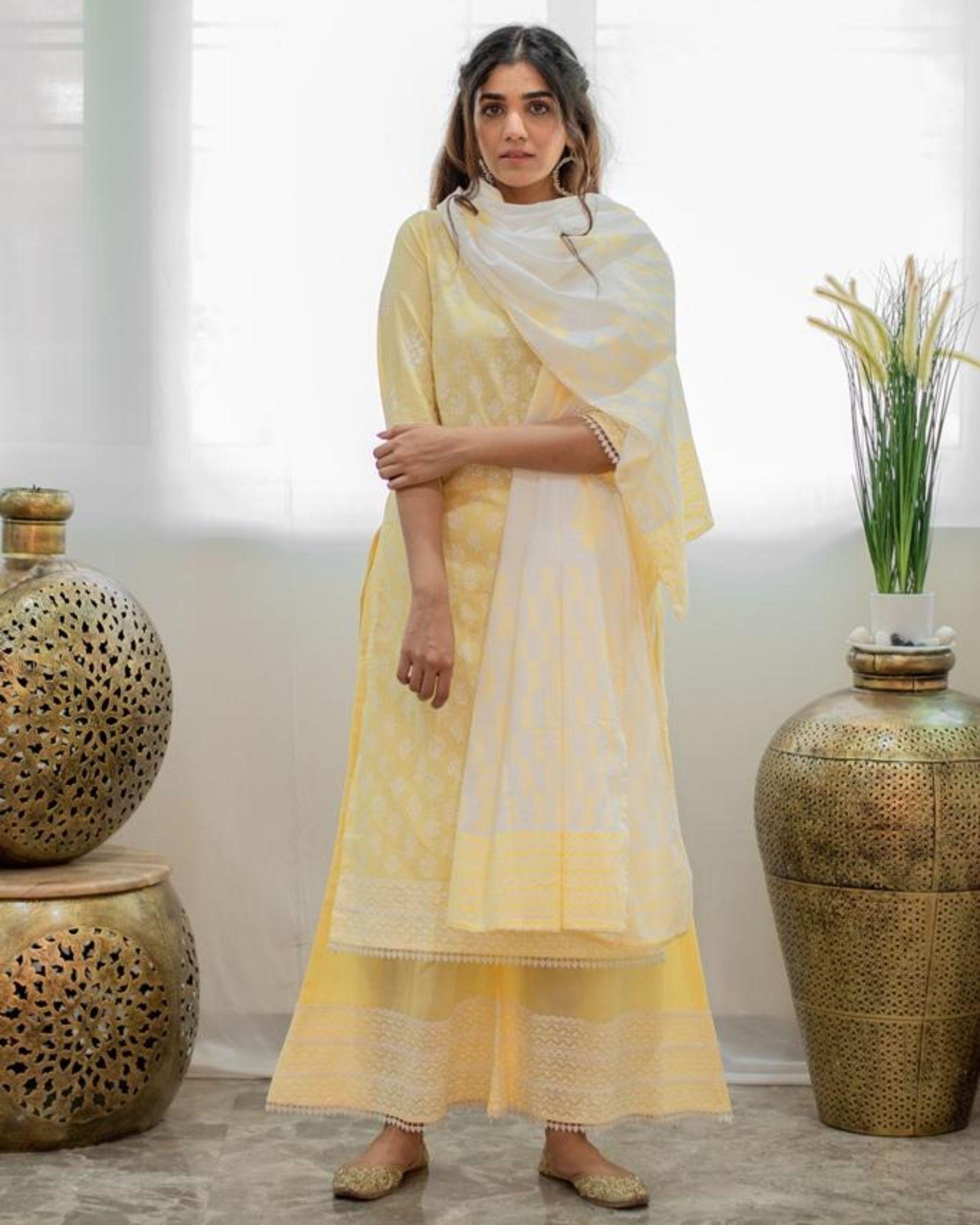 White and pastel yellow khari block printed dupatta