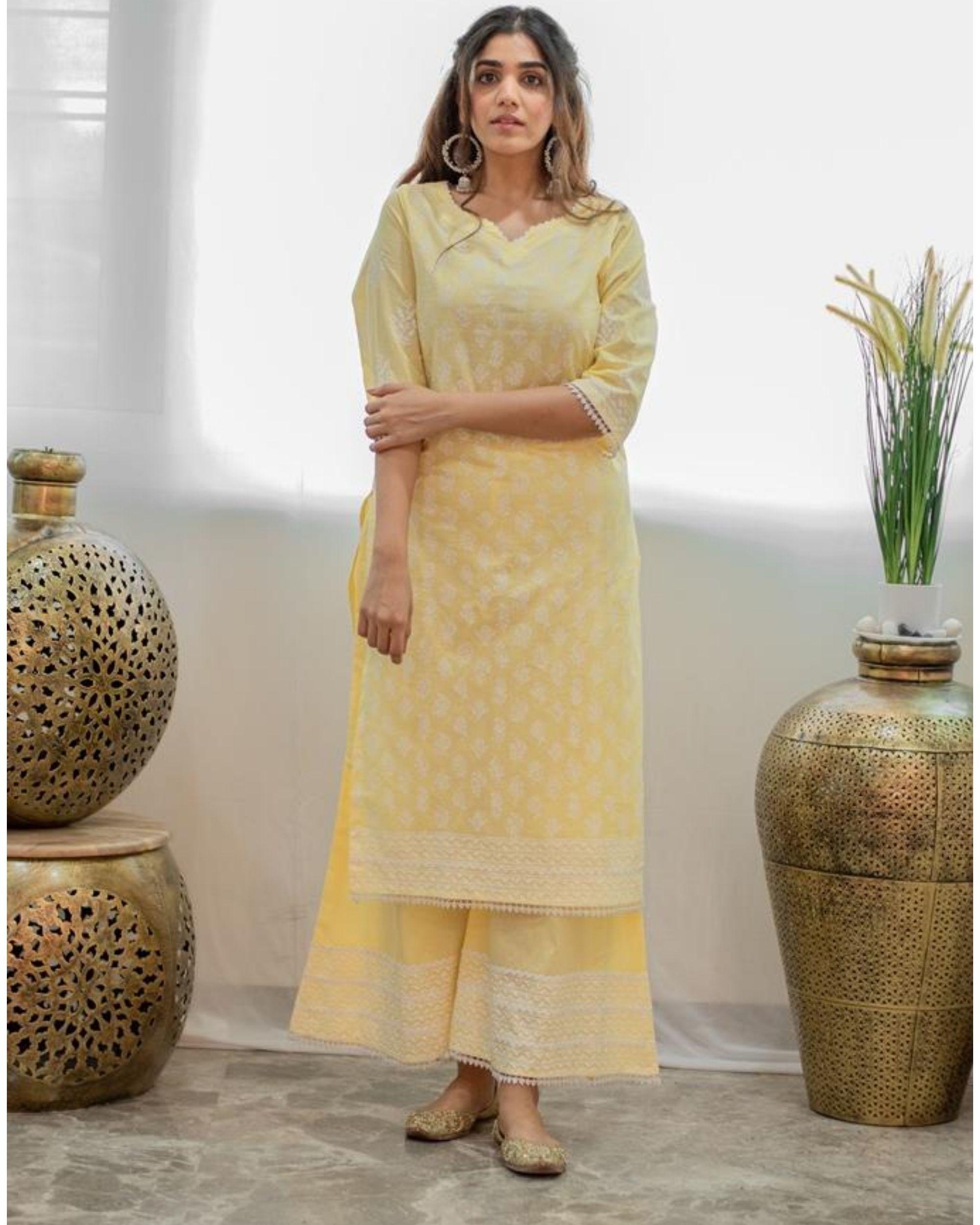 Pastel yellow khari block printed kurta with palazzo - Set Of Two