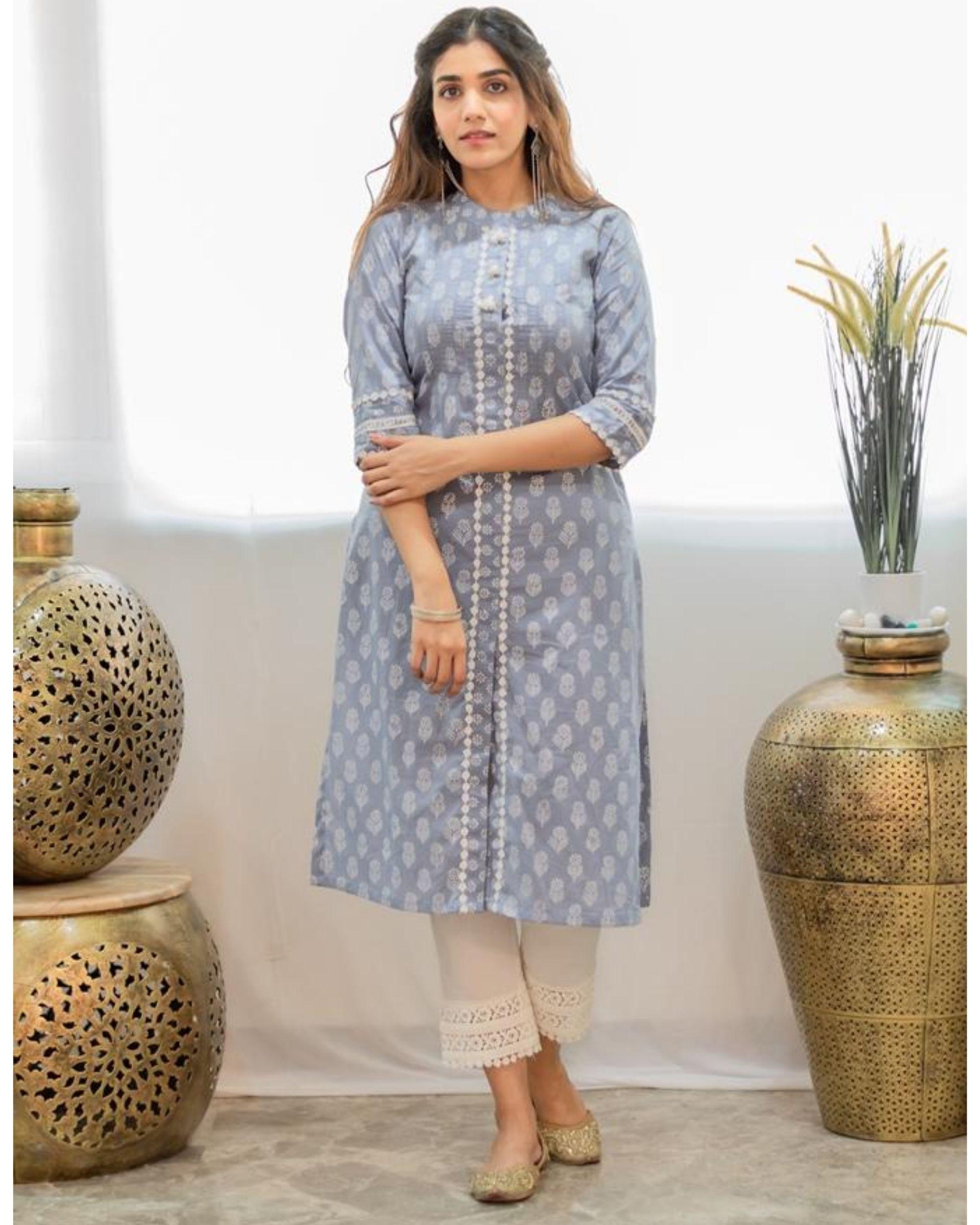 Grey khari block printed kurta