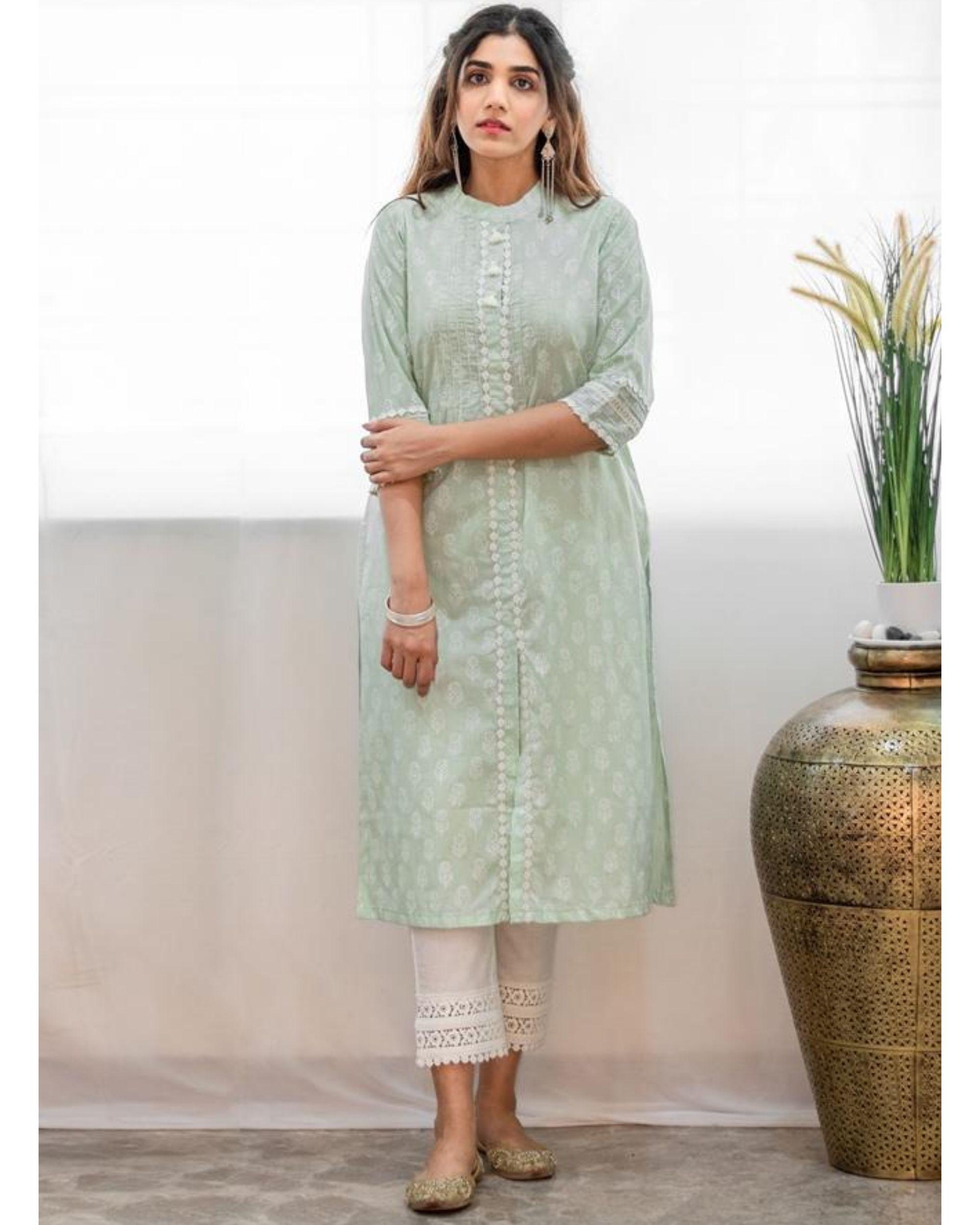 Mint green khari block printed kurta