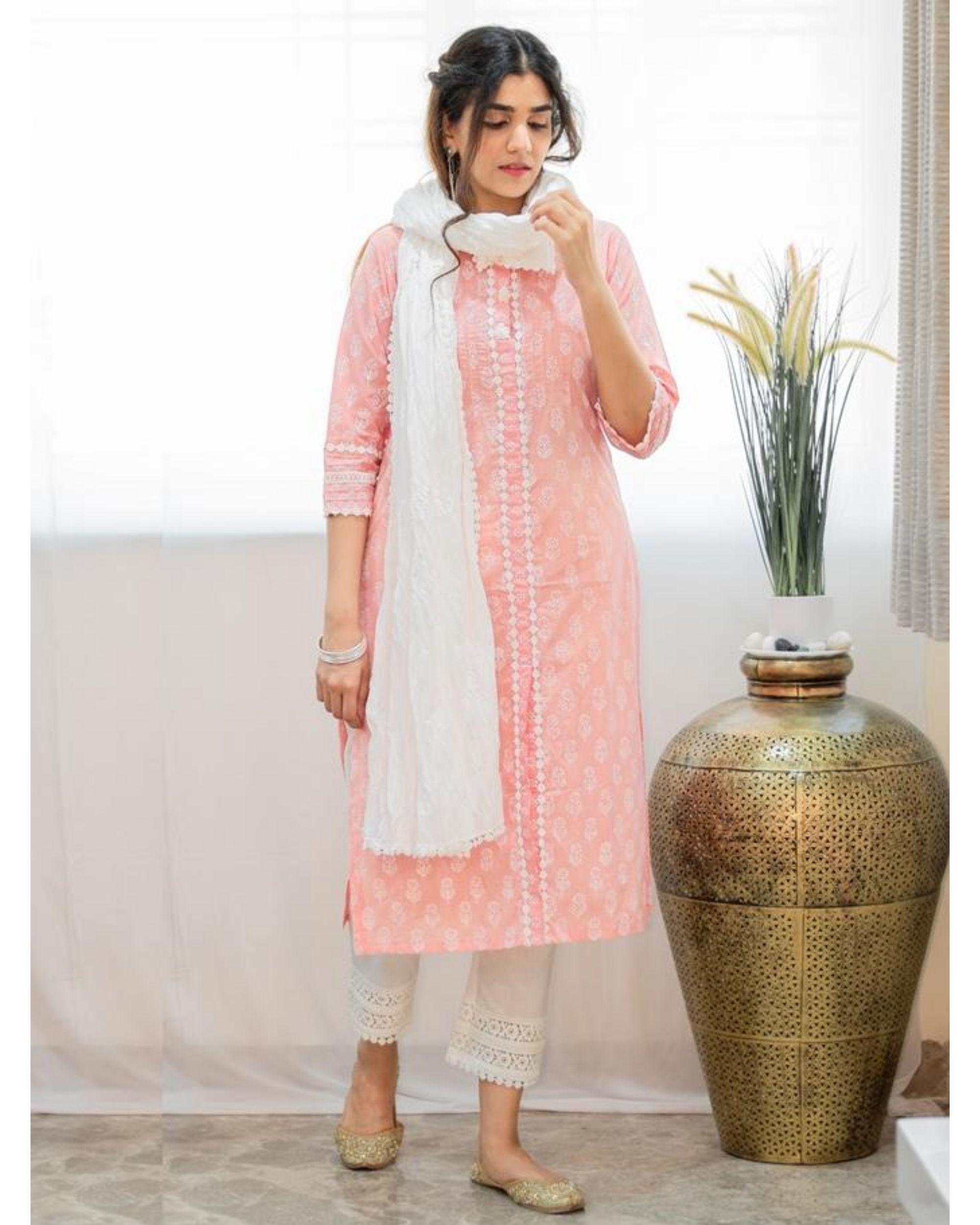 Blush pink khari block printed kurta with pants and crinkled dupatta - Set Of Three