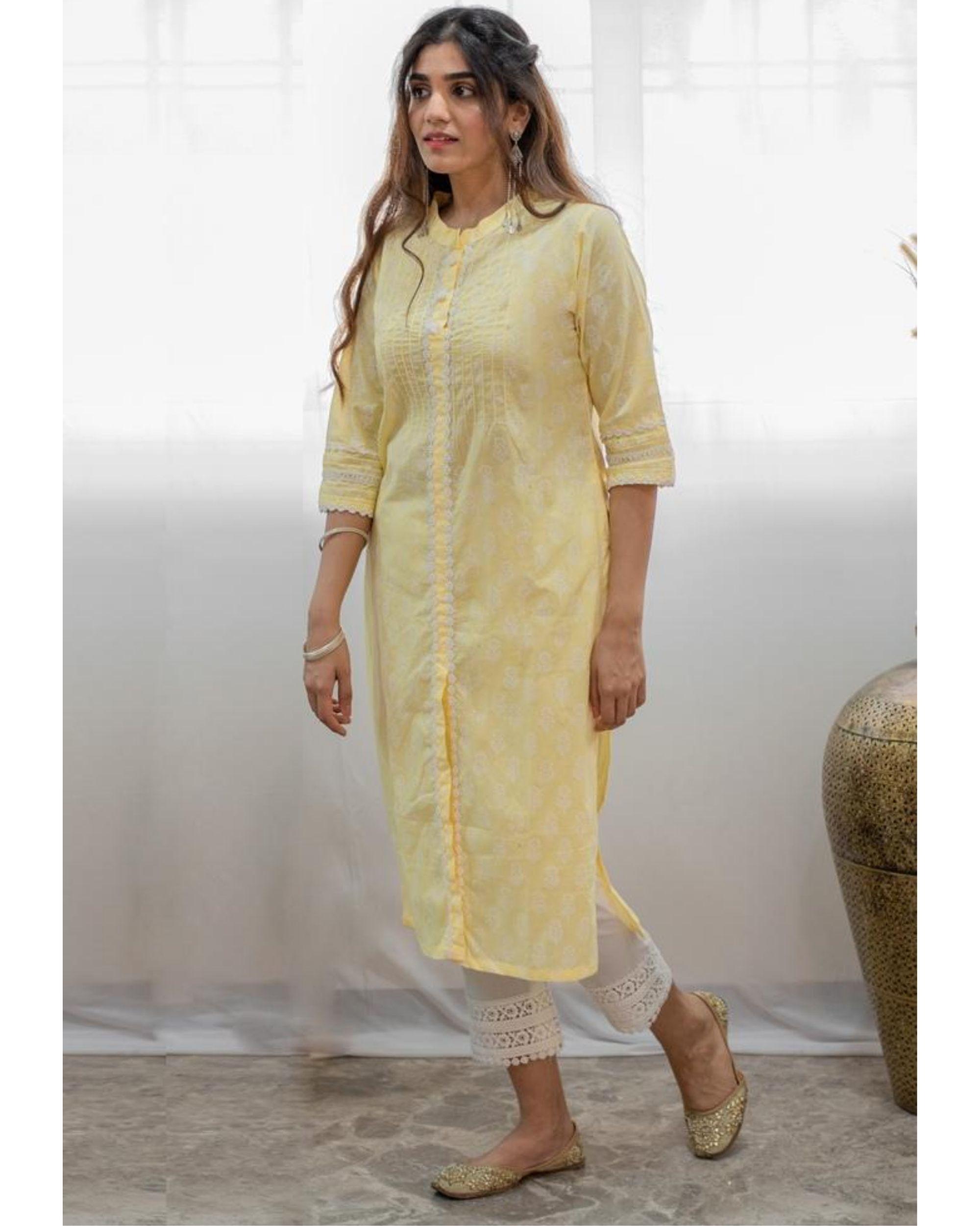 Pastel yellow khari block printed kurta
