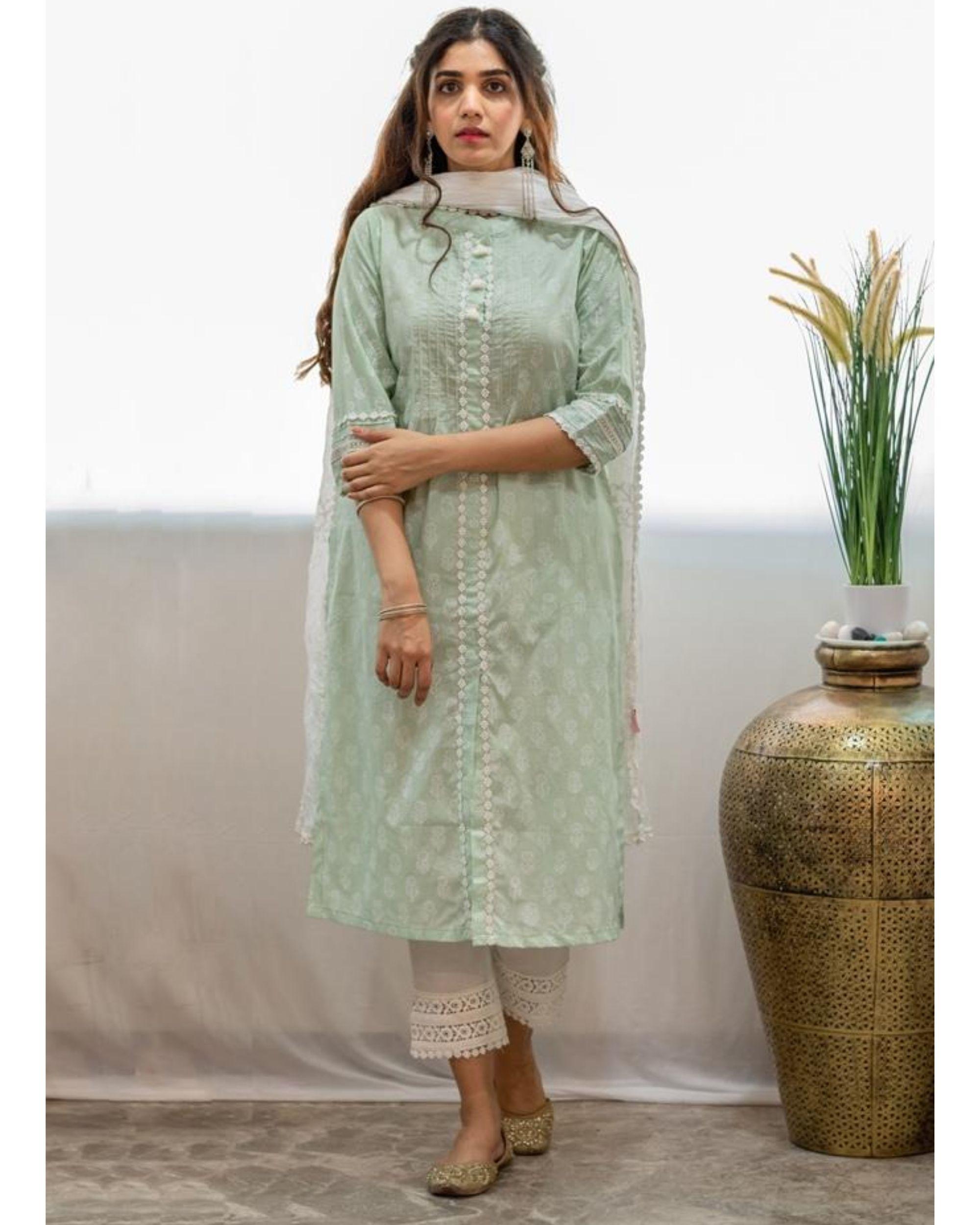 Mint green block printed kurta with pants and crinkled dupatta - Set Of Three