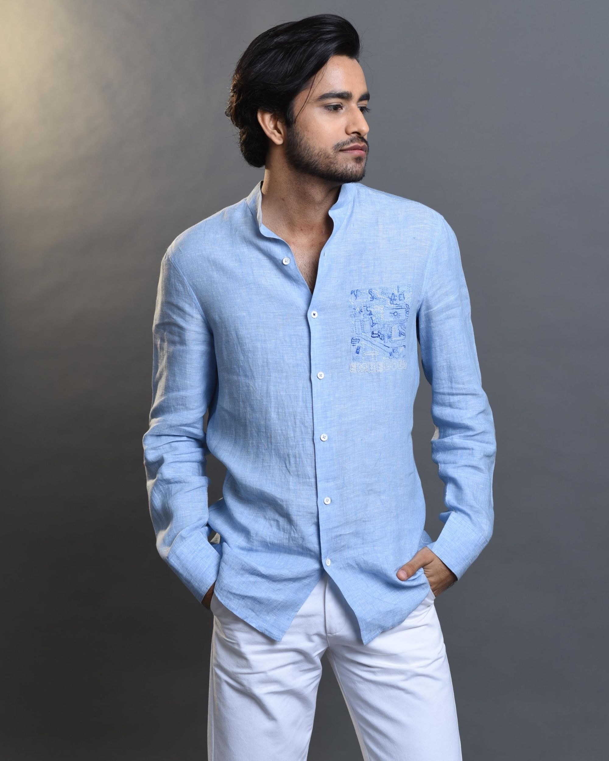 Sky blue embroidered shirt