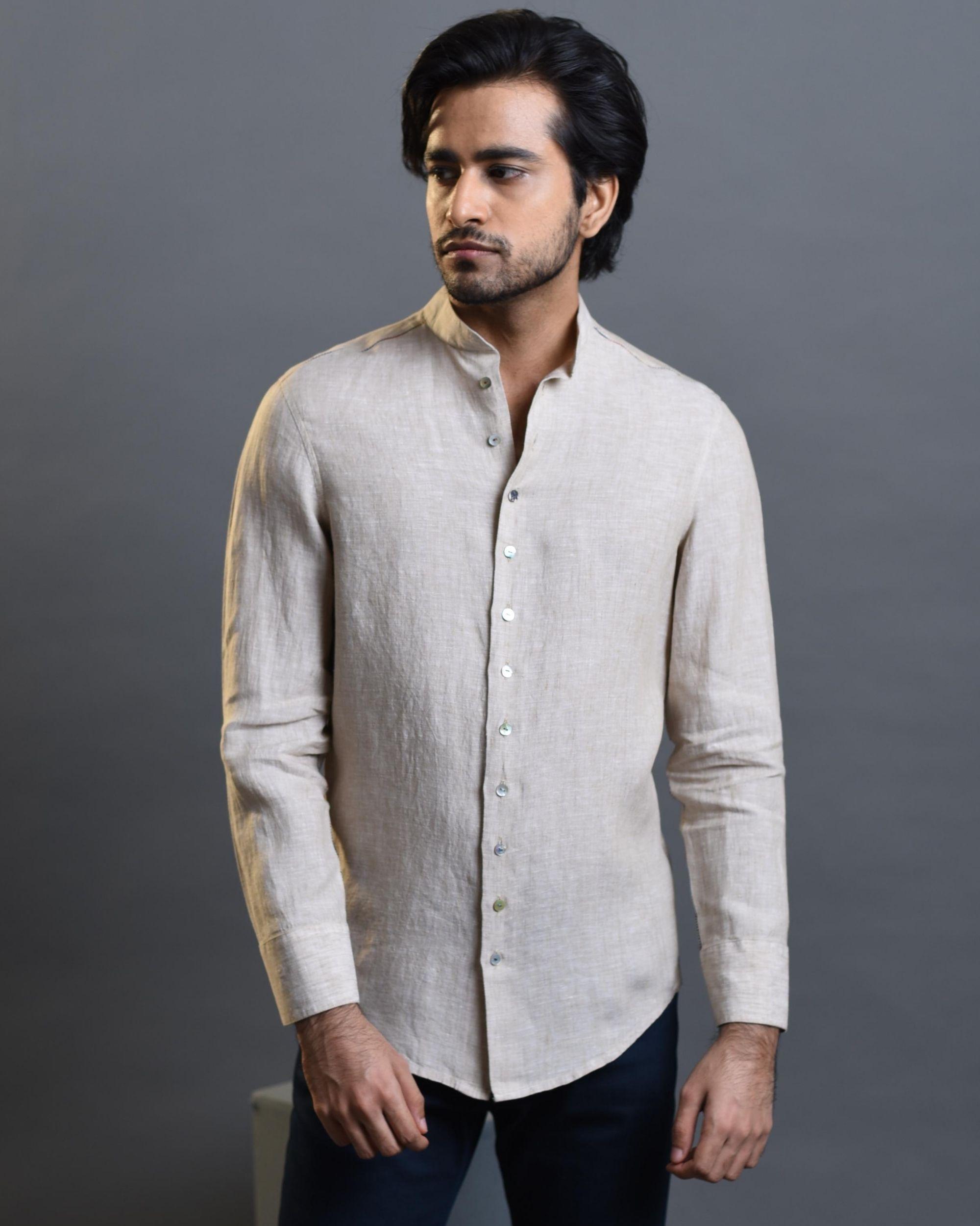 Beige pleated shirt
