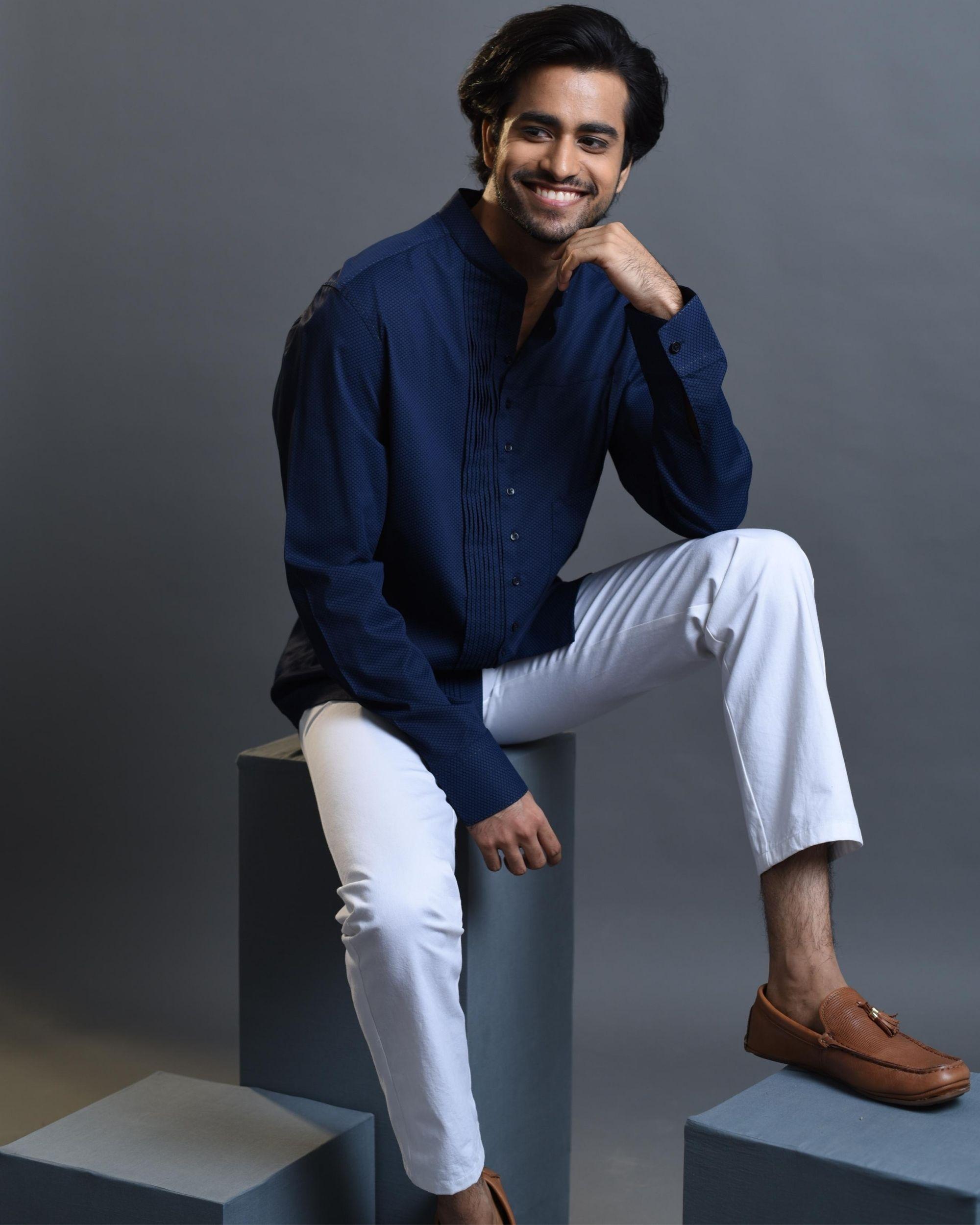 Blue pin tucks shirt