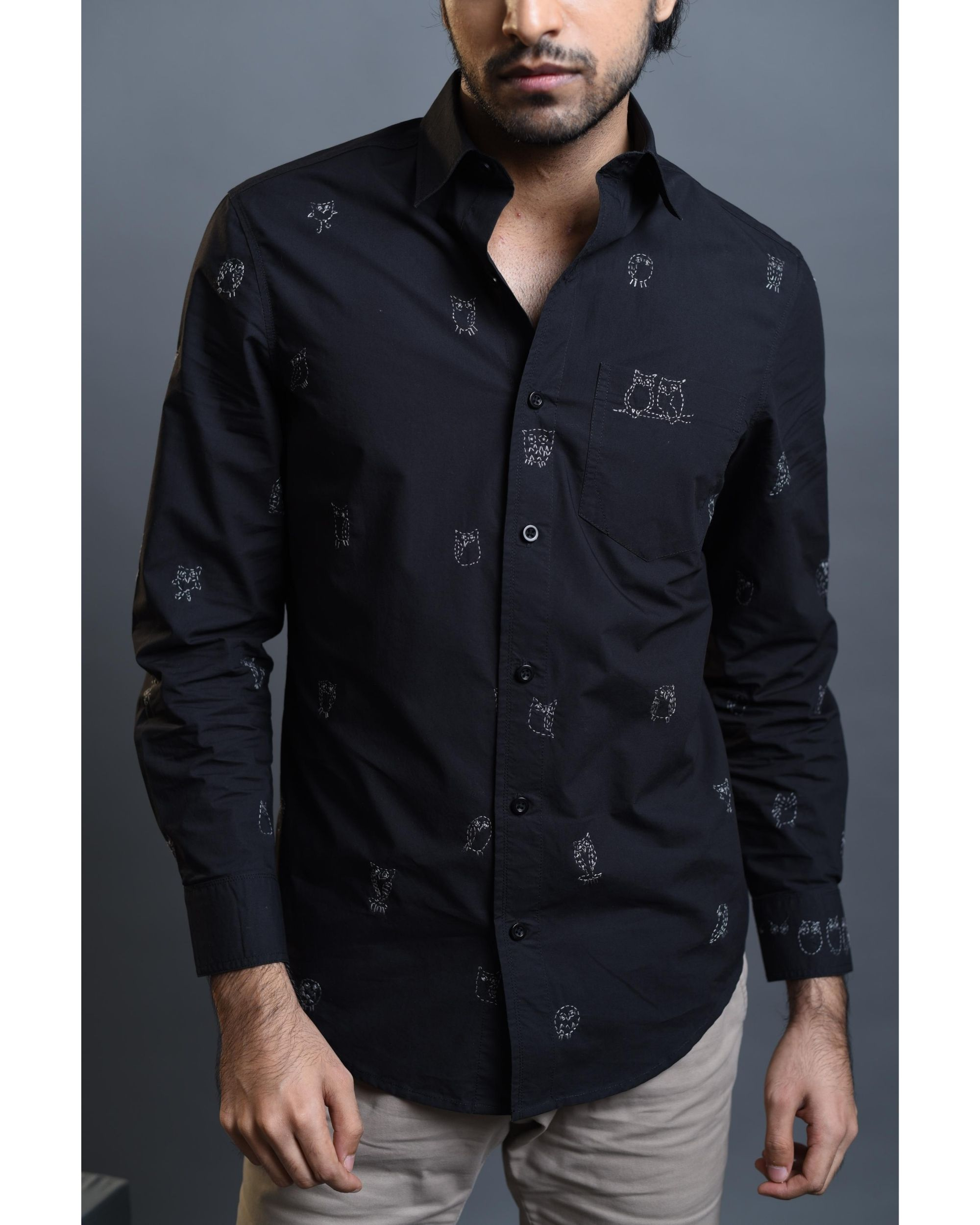 Black owl embroidered shirt