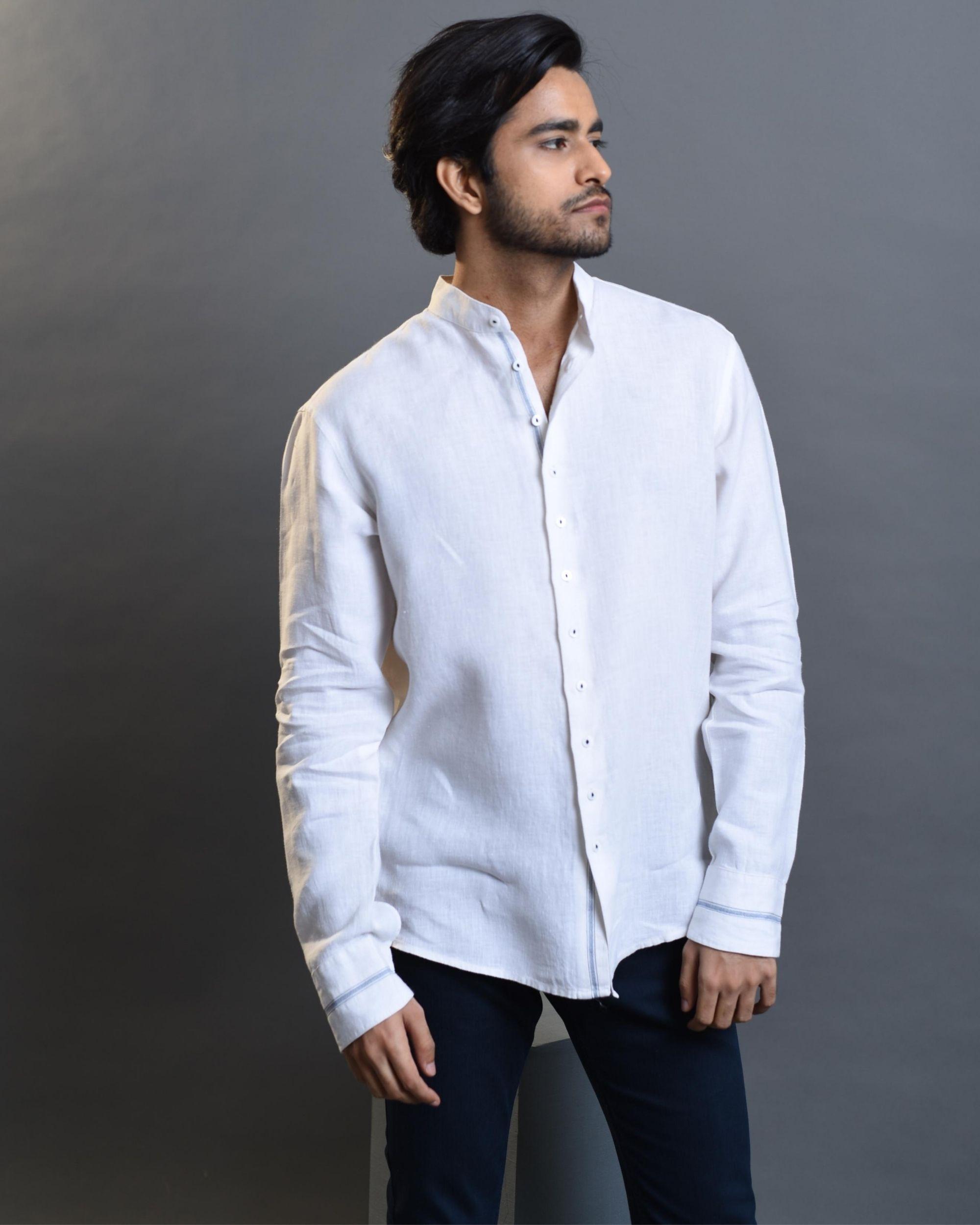 White printed linen shirt