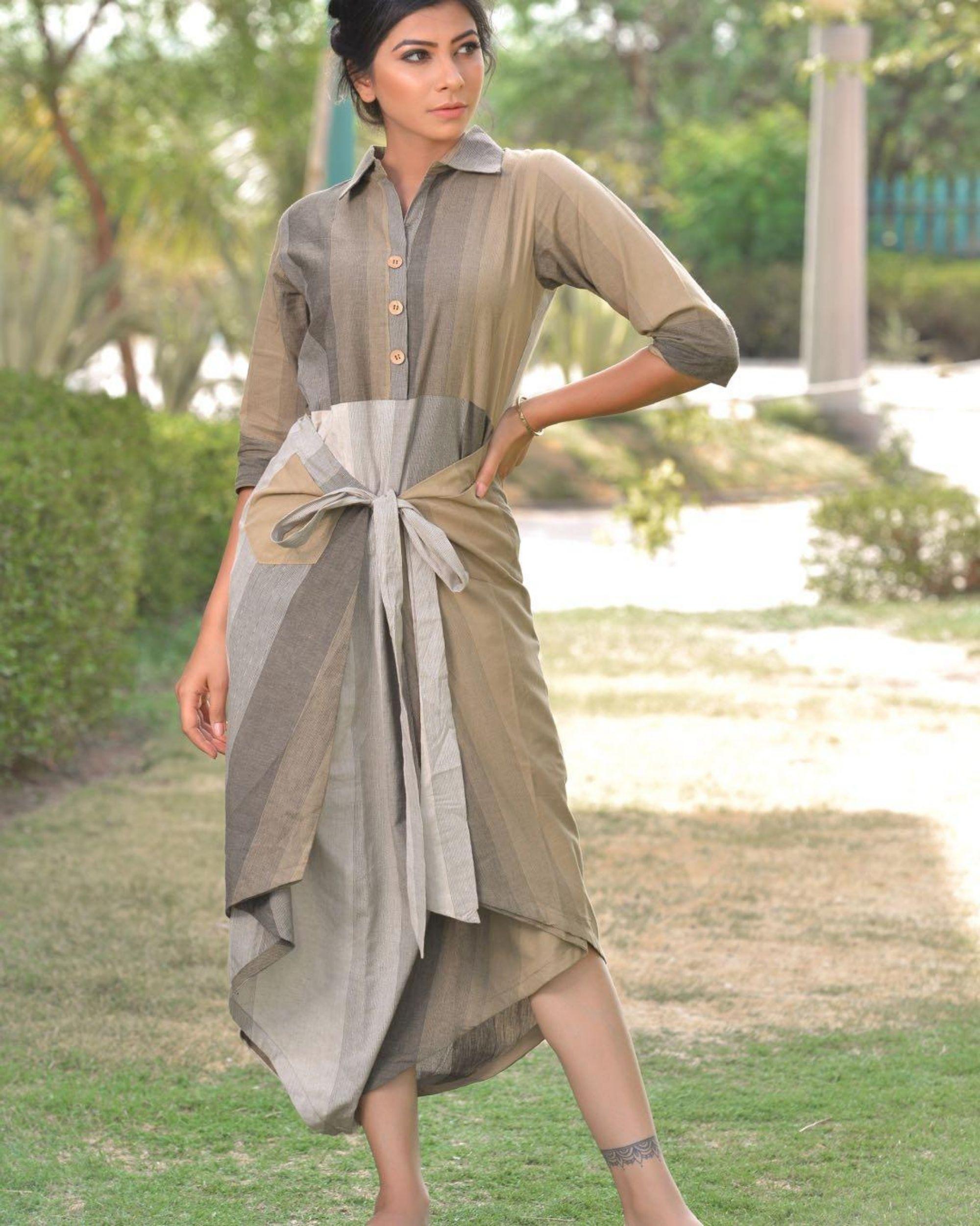 Grey and beige striped wrap around dress