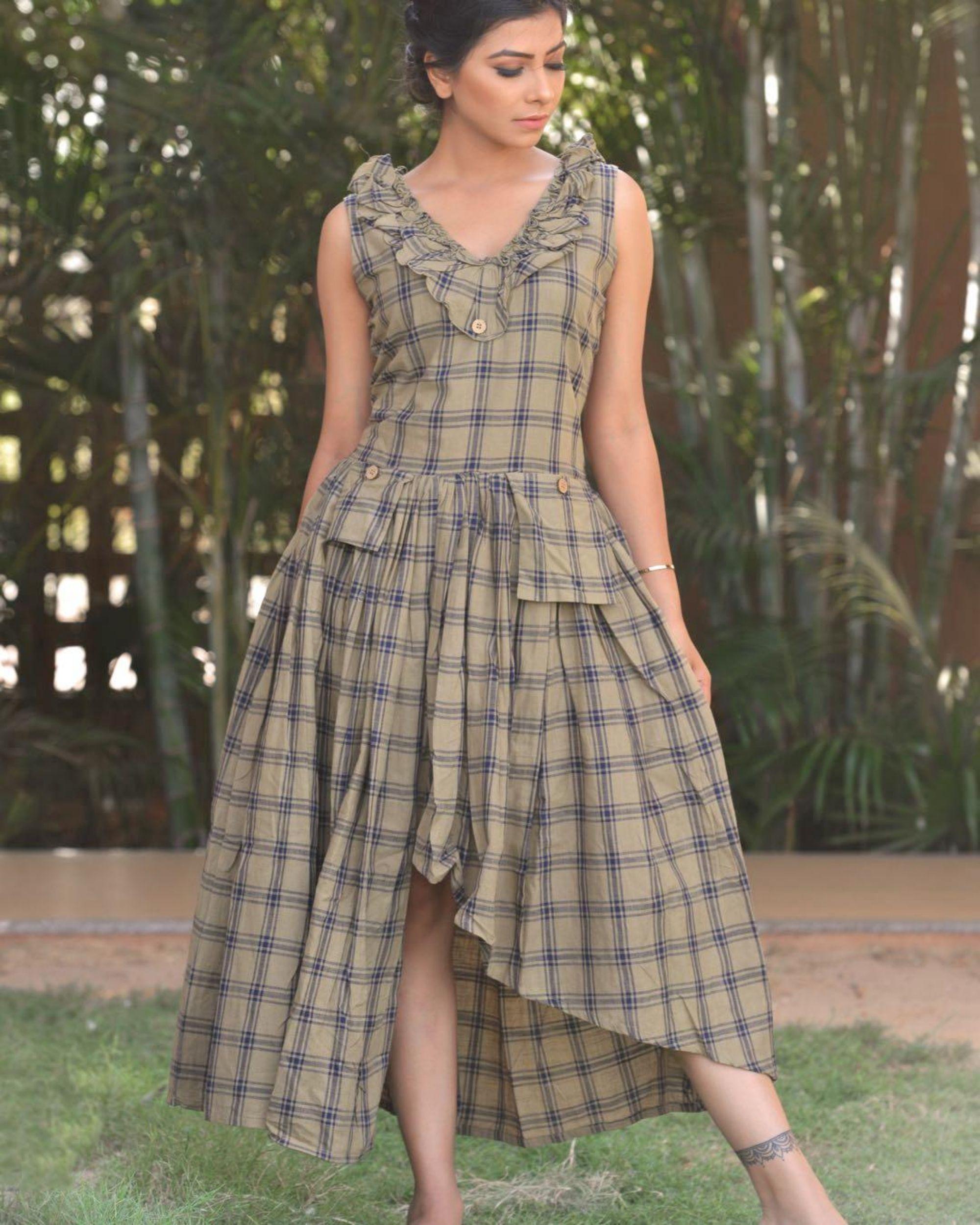 Grey checkered frill dress